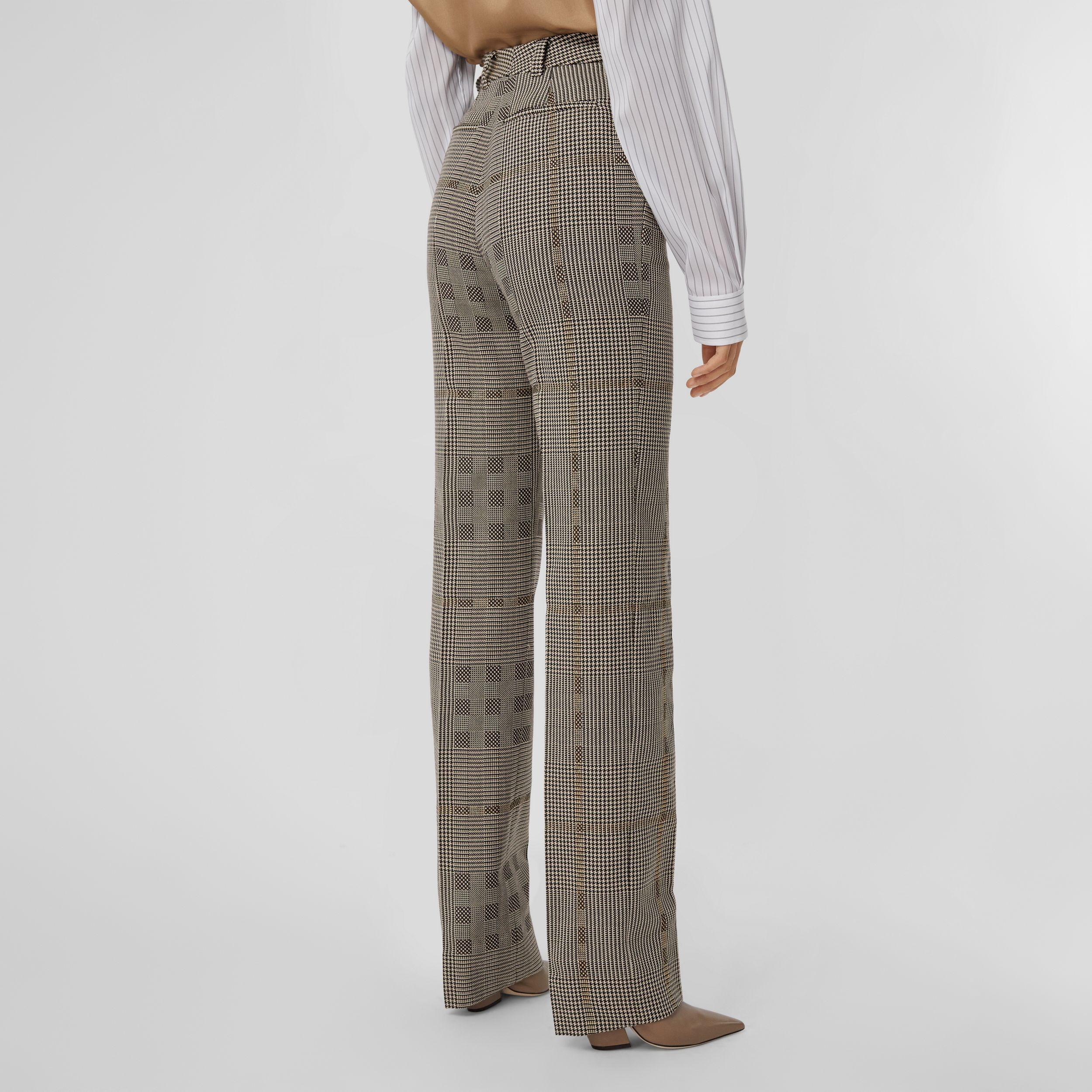 Check Wool Jacquard Tailored Trousers in Brown - Women | Burberry United Kingdom - 3