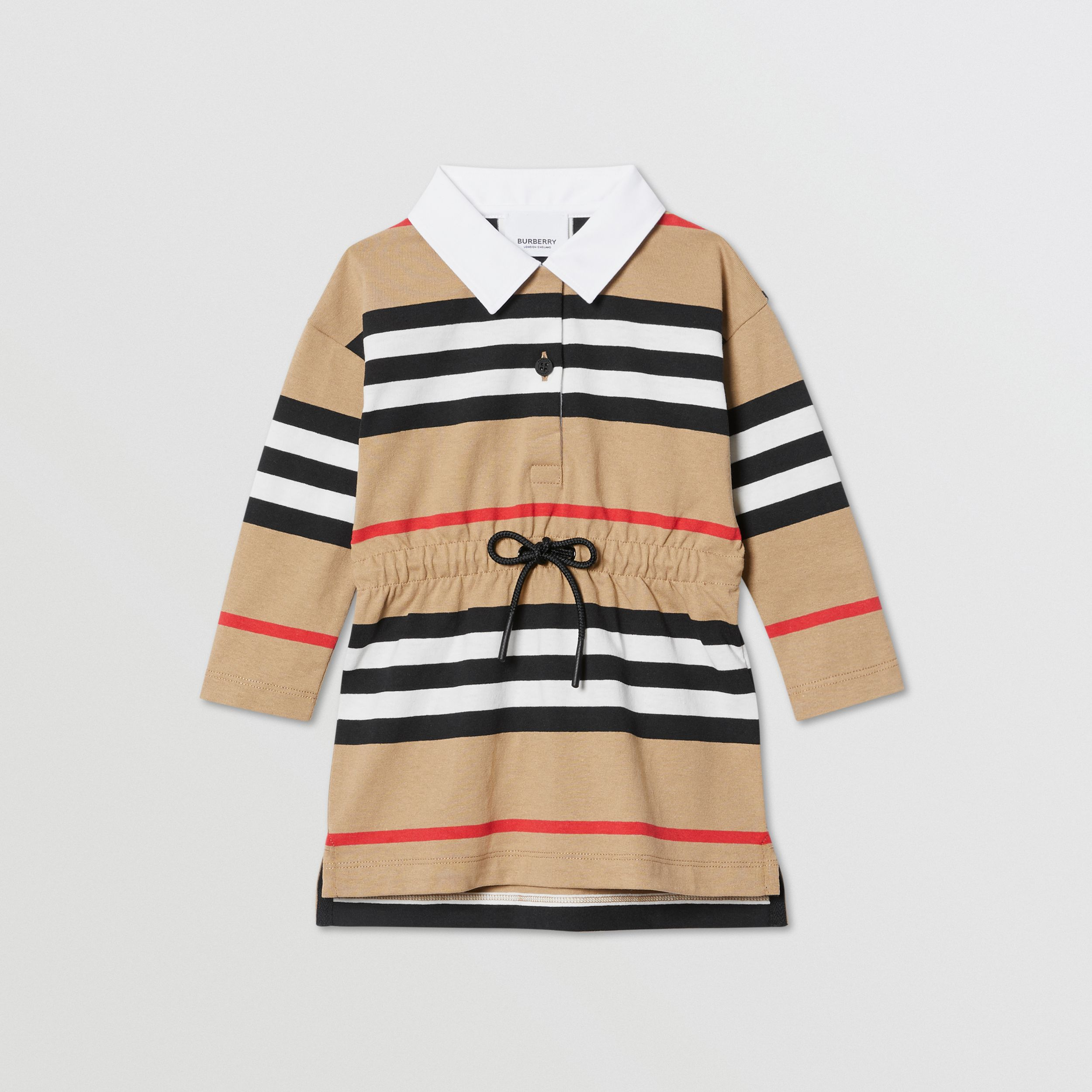 Long-sleeve Icon Stripe Cotton Dress in Archive Beige - Children | Burberry - 1