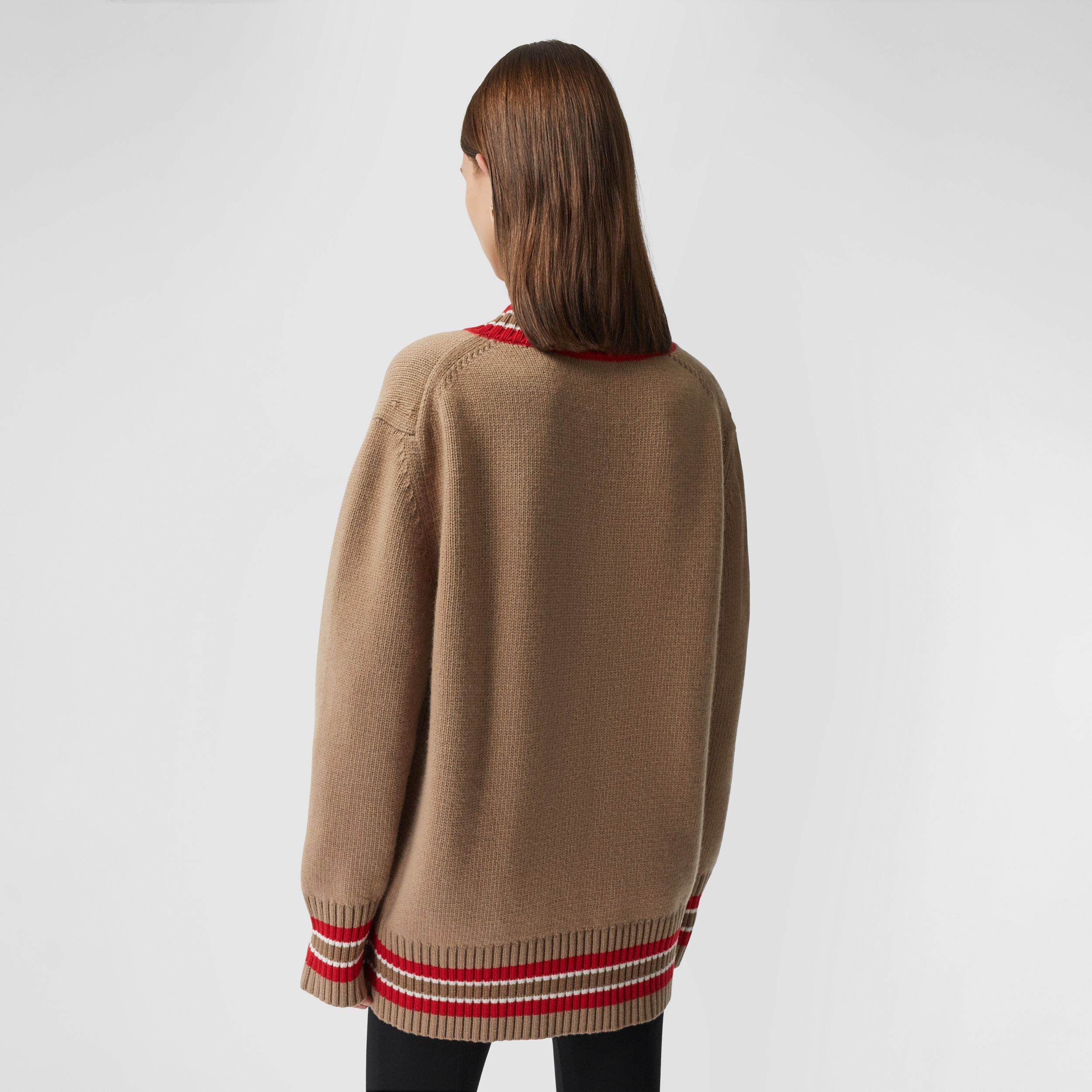Wool Oversized Cricket Sweater in Camel - Women | Burberry - 3