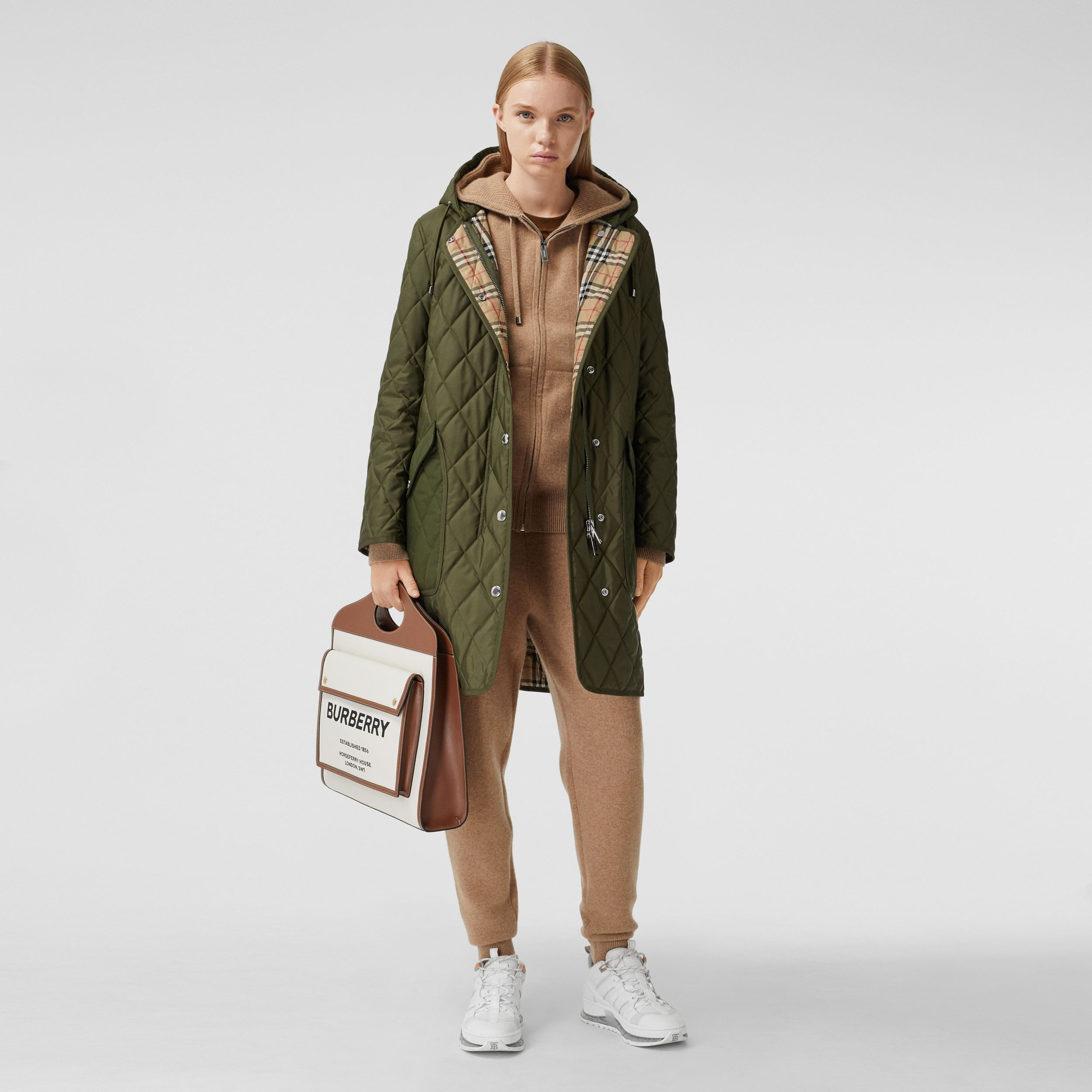 Diamond Quilted Thermoregulated Hooded Coat in Military Green - Women | Burberry - 1