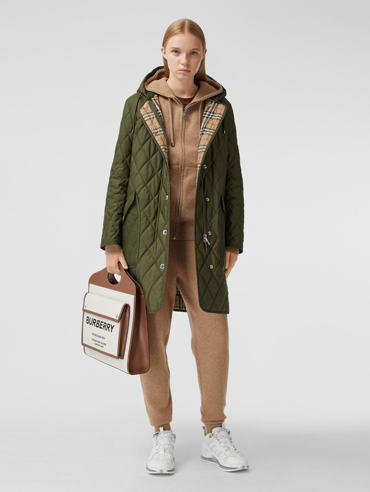 Diamond Quilted Thermoregulated Hooded Coat in Military Green