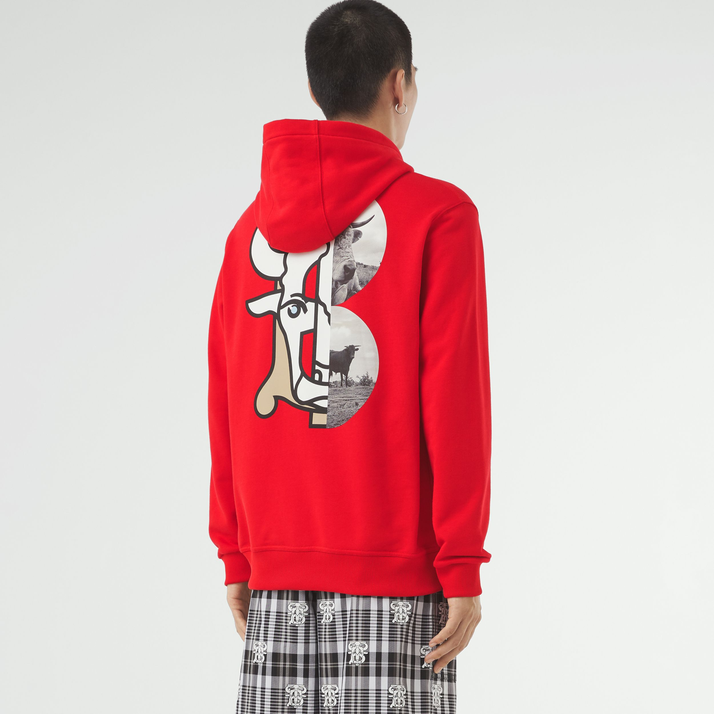 Montage Print Cotton Hoodie – Unisex in Bright Red | Burberry Australia - 3