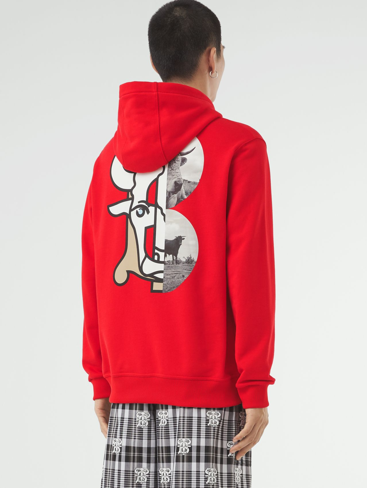 Montage Print Cotton Hoodie – Unisex in Bright Red