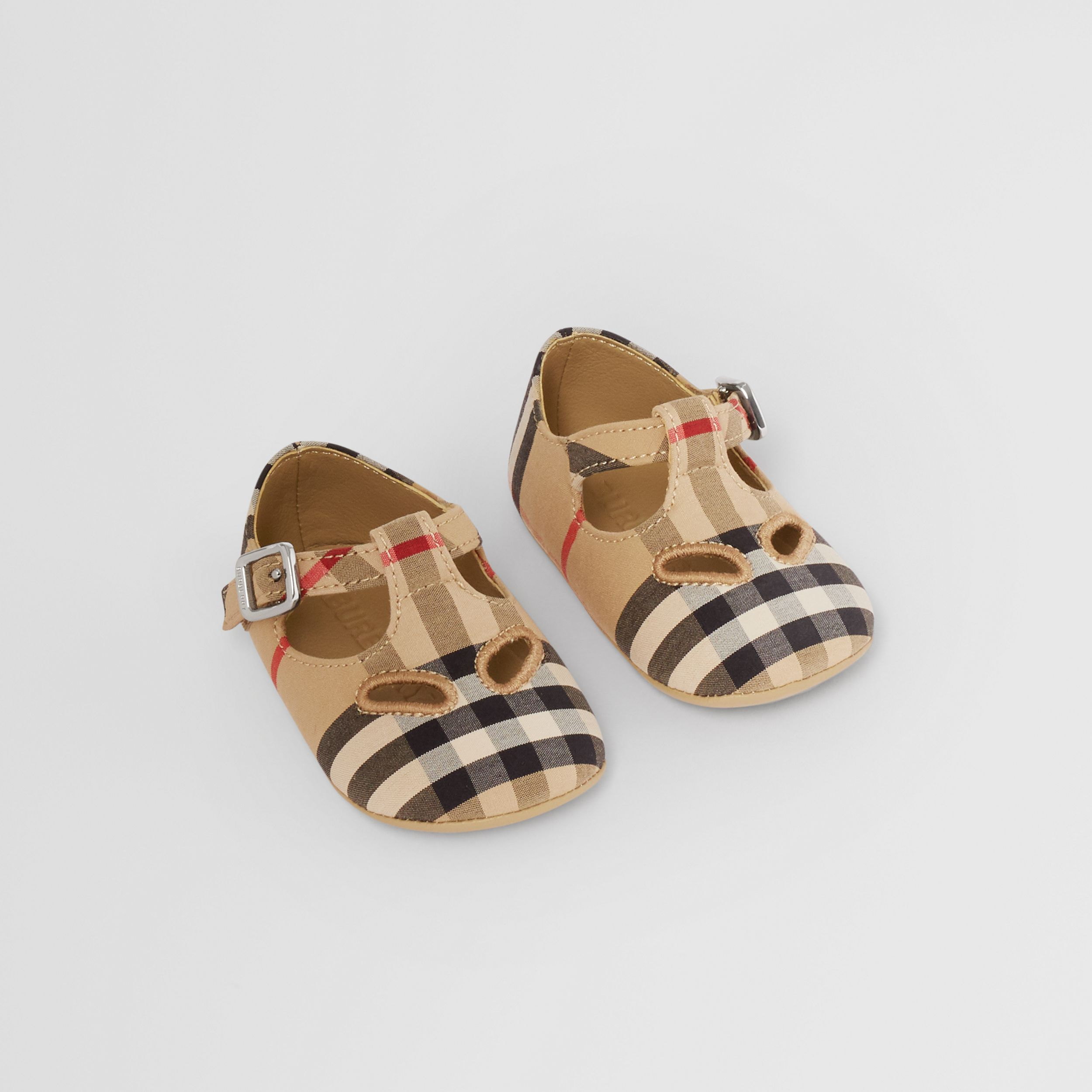 Vintage Check Cotton T-bar Shoes in Archive Beige - Children | Burberry - 1