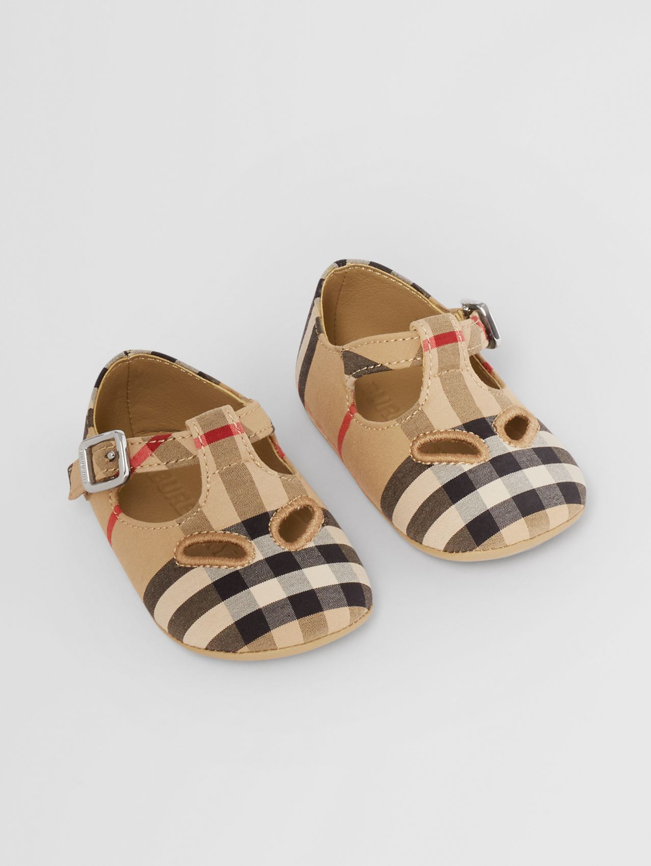 Vintage Check Cotton T-bar Shoes in Archive Beige