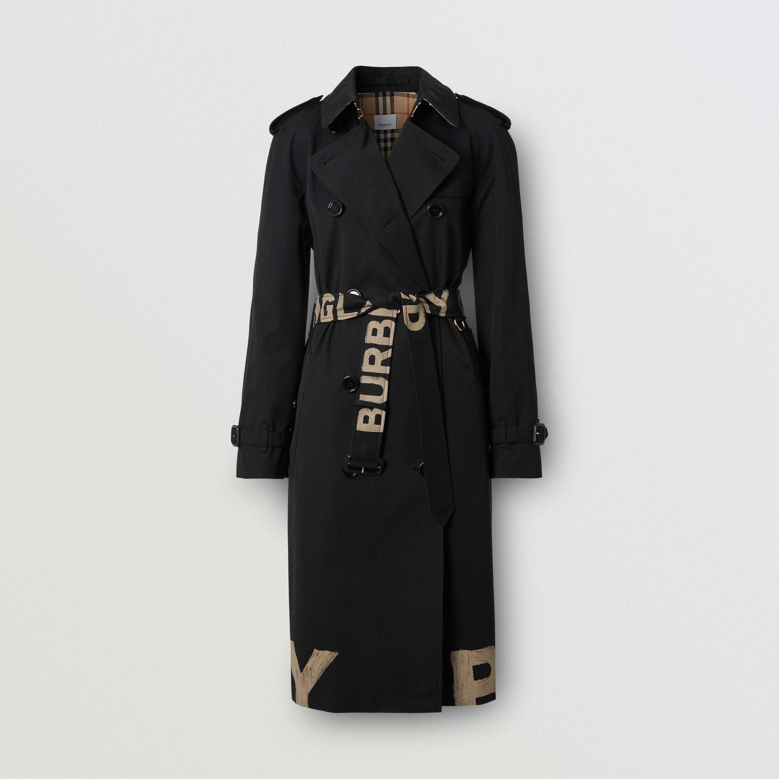 Logo Print Cotton Gabardine Trench Coat in Black - Women | Burberry - 3