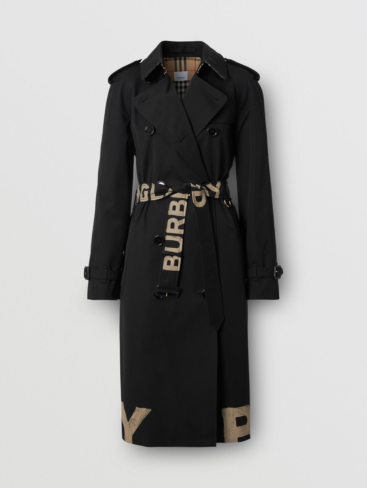 Logo Print Cotton Gabardine Trench Coat in Black