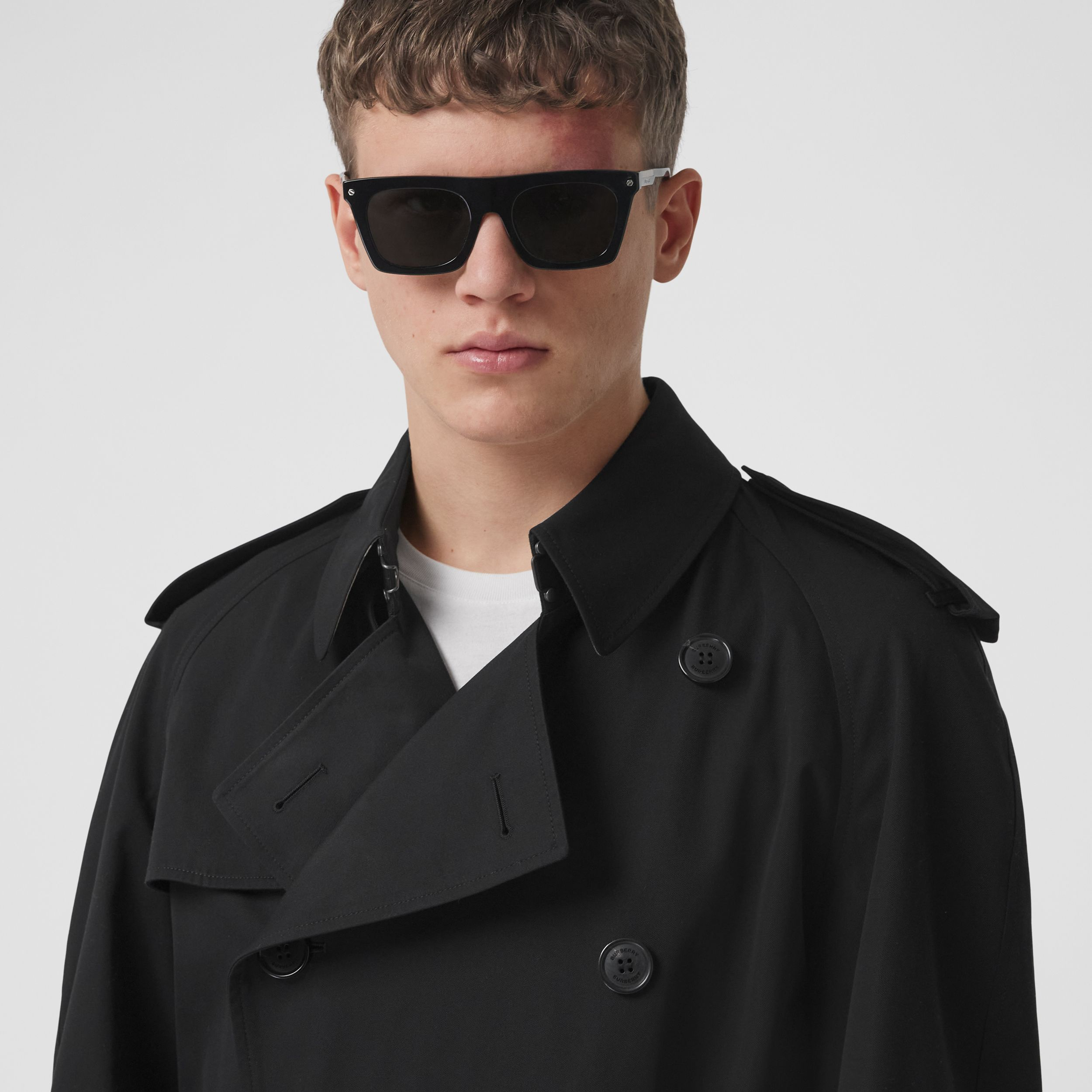 Logo Print Cotton Gabardine Trench Coat in Black - Men | Burberry - 2
