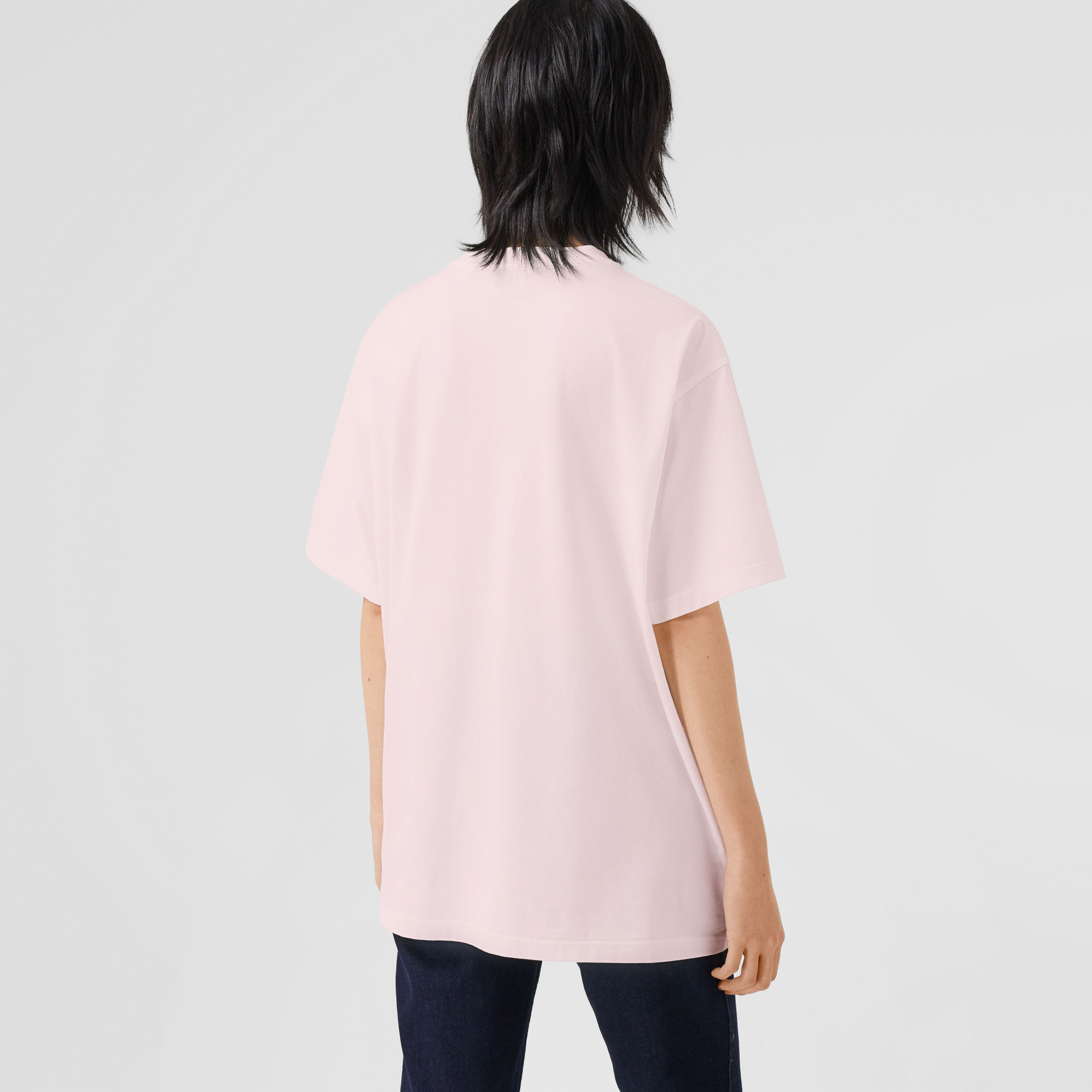 Montage Print Cotton Oversized T-shirt in Alabaster Pink - Women | Burberry - 3