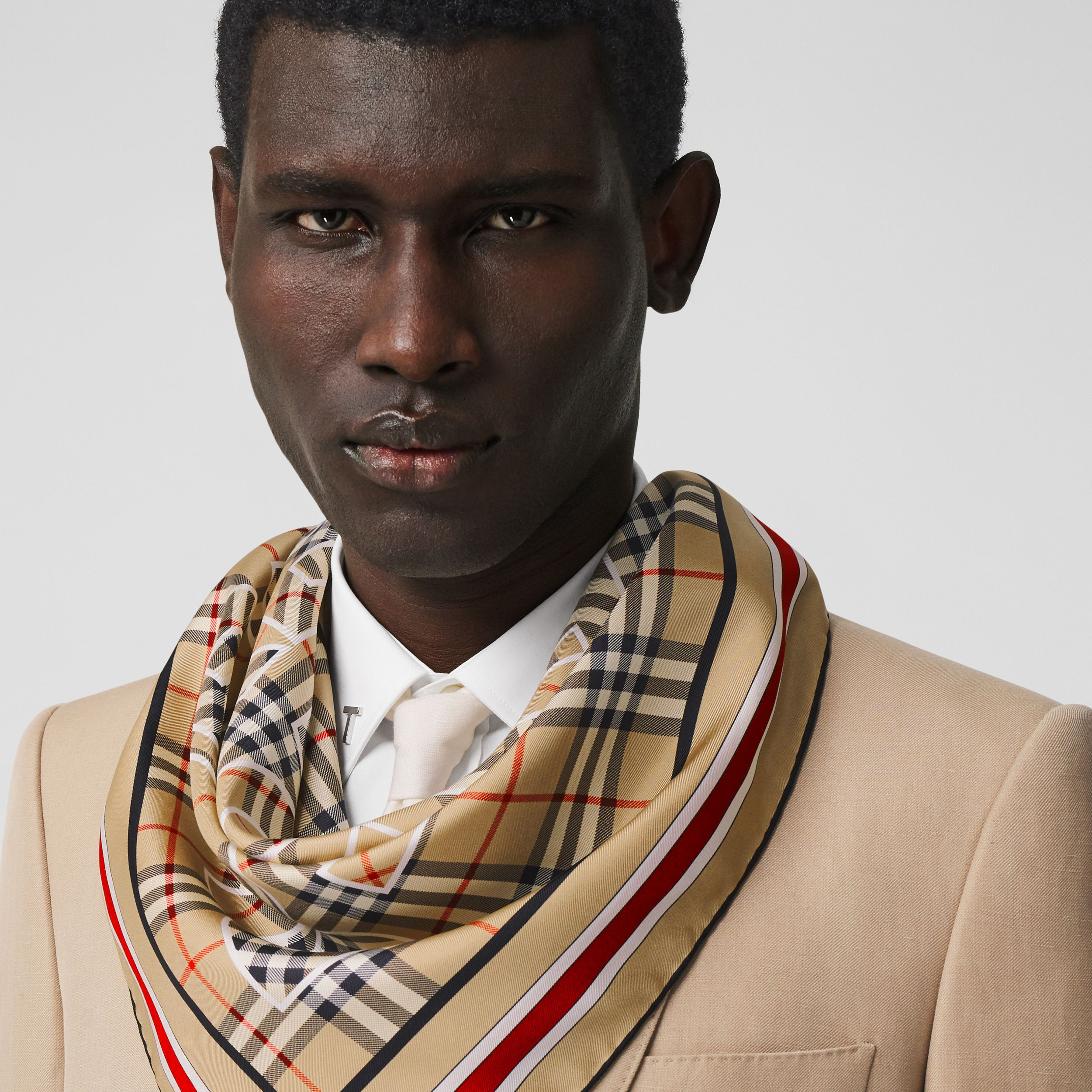 Logo Print Vintage Check Silk Square Scarf in Archive Beige | Burberry - 4