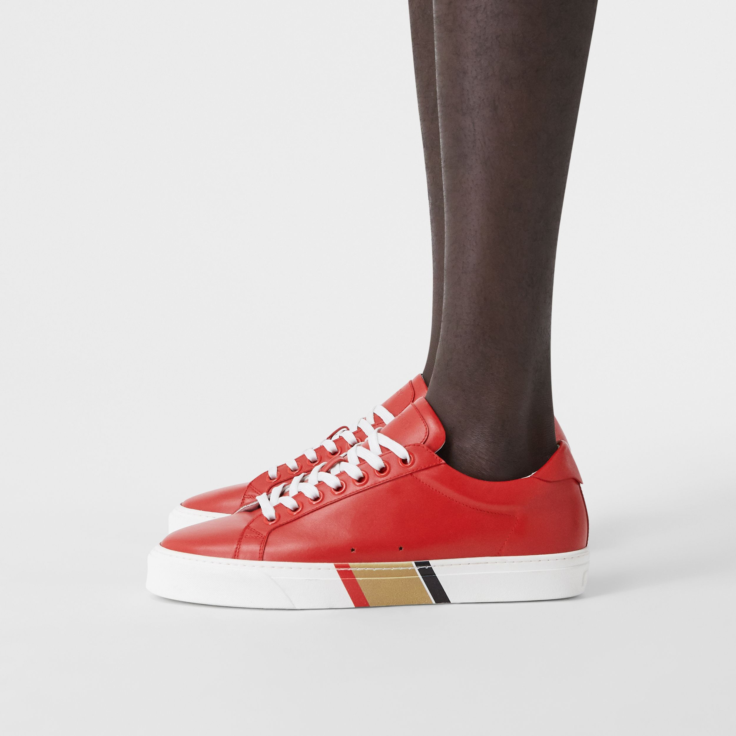 Bio-based Sole Leather Sneakers in Bright Red - Men | Burberry United States - 3