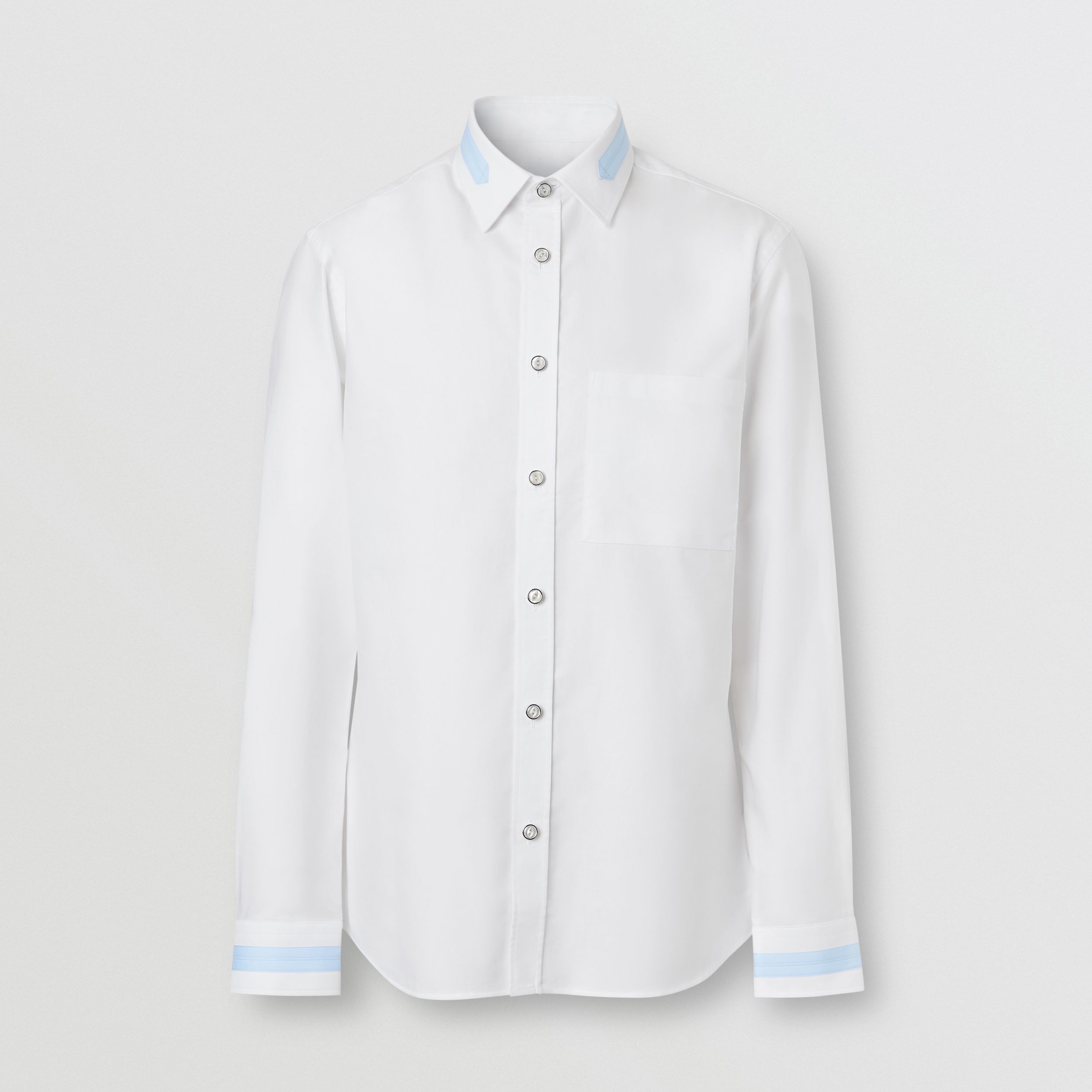 Slim Fit Cotton Oxford Shirt in White - Men | Burberry Australia - 4