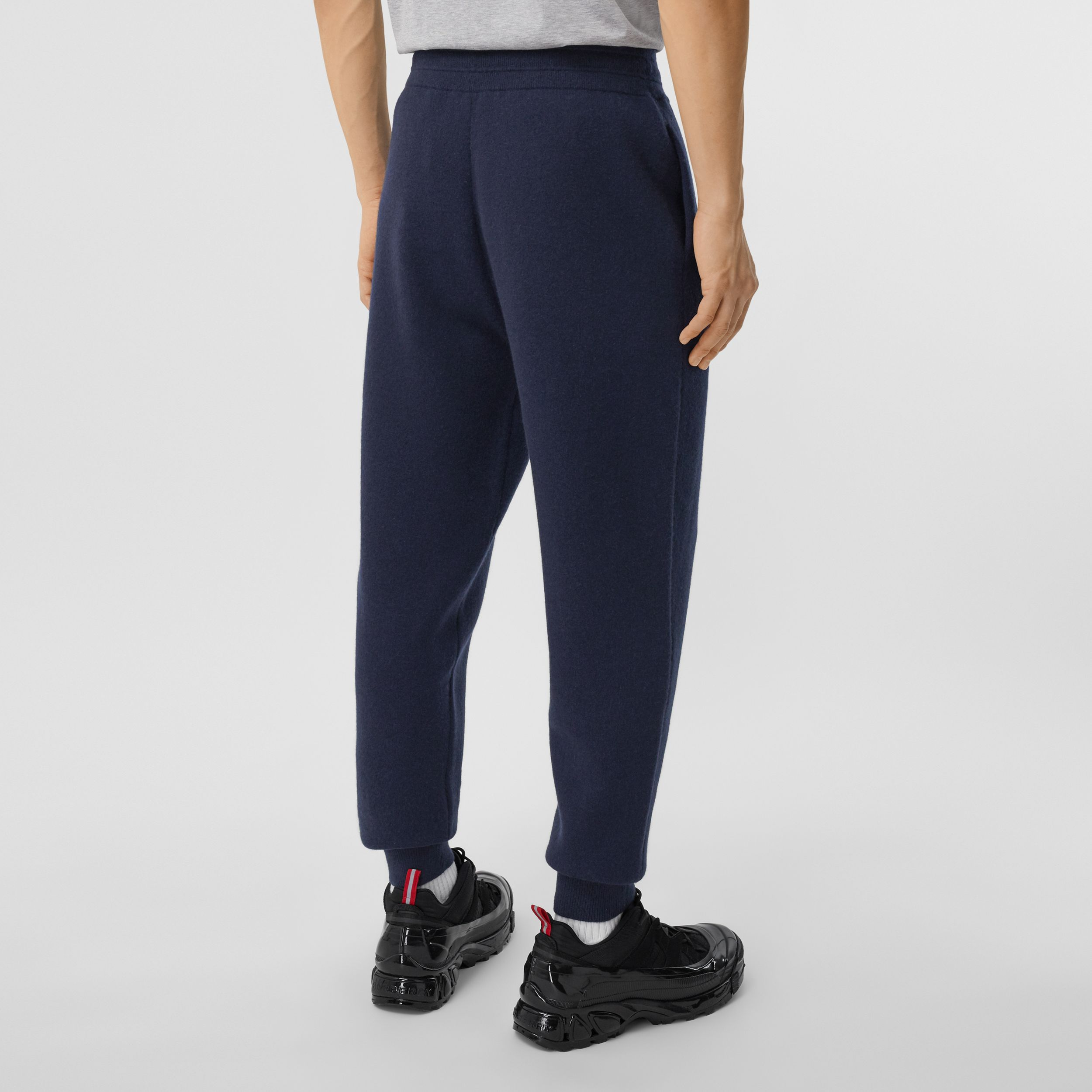 Monogram Motif Cashmere Blend Jogging Pants in Navy - Men | Burberry - 3