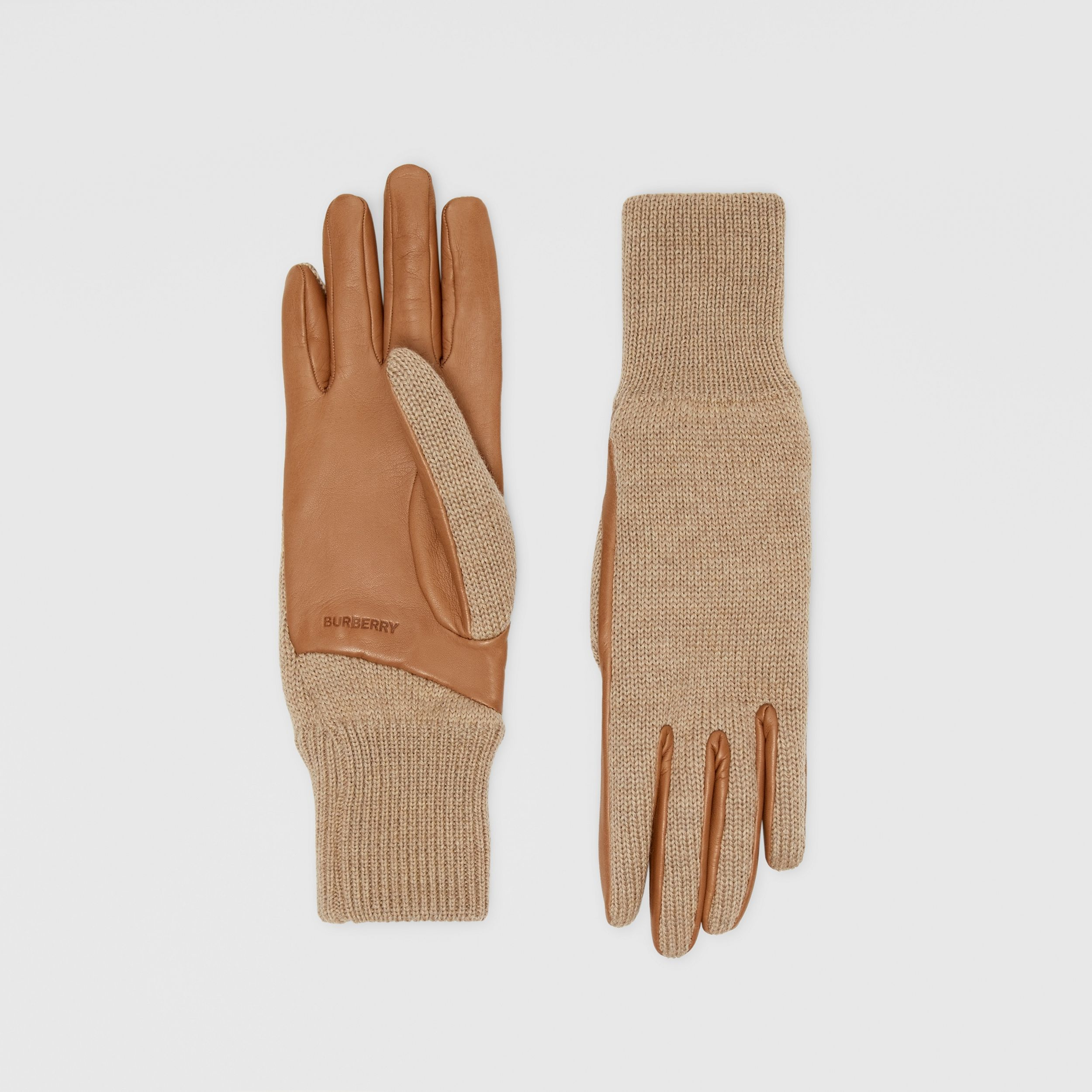 Cashmere-lined Merino Wool and Lambskin Gloves in Bronze | Burberry - 1