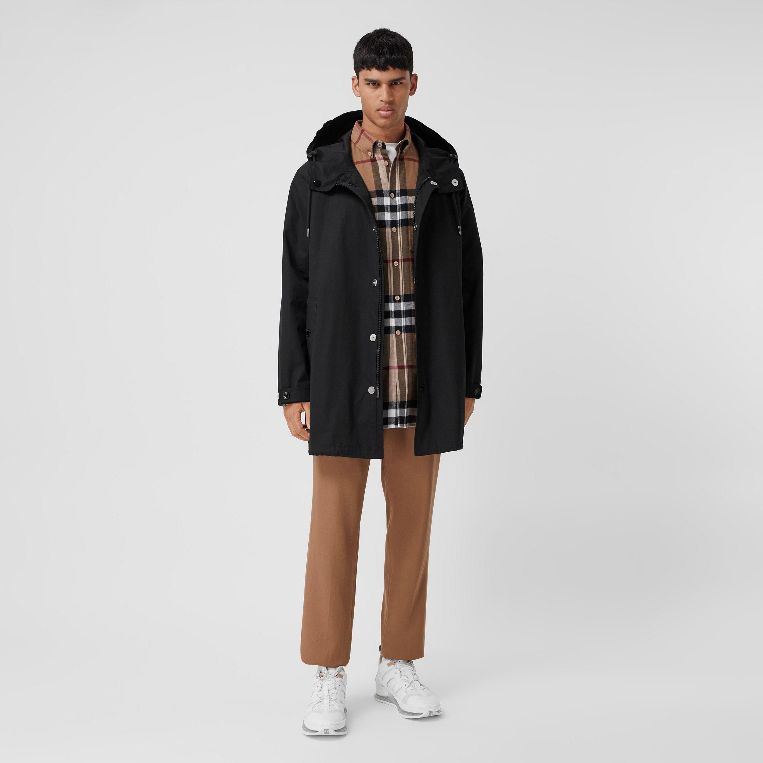 Logo Appliqué Cotton Hooded Coat in Black - Men | Burberry - 1