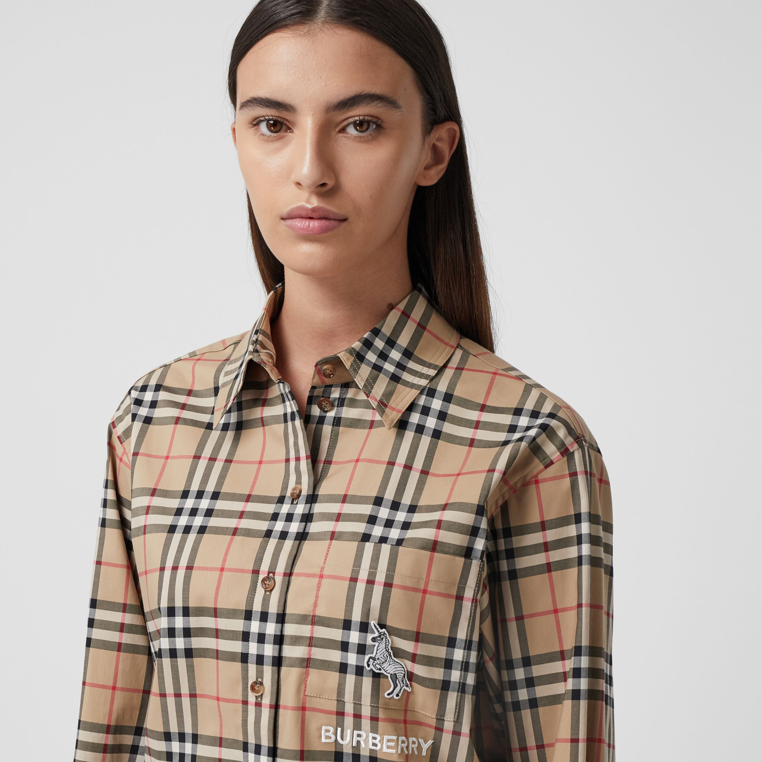 Zebra Appliqué Vintage Check Cotton Oversized Shirt - Women | Burberry - 2