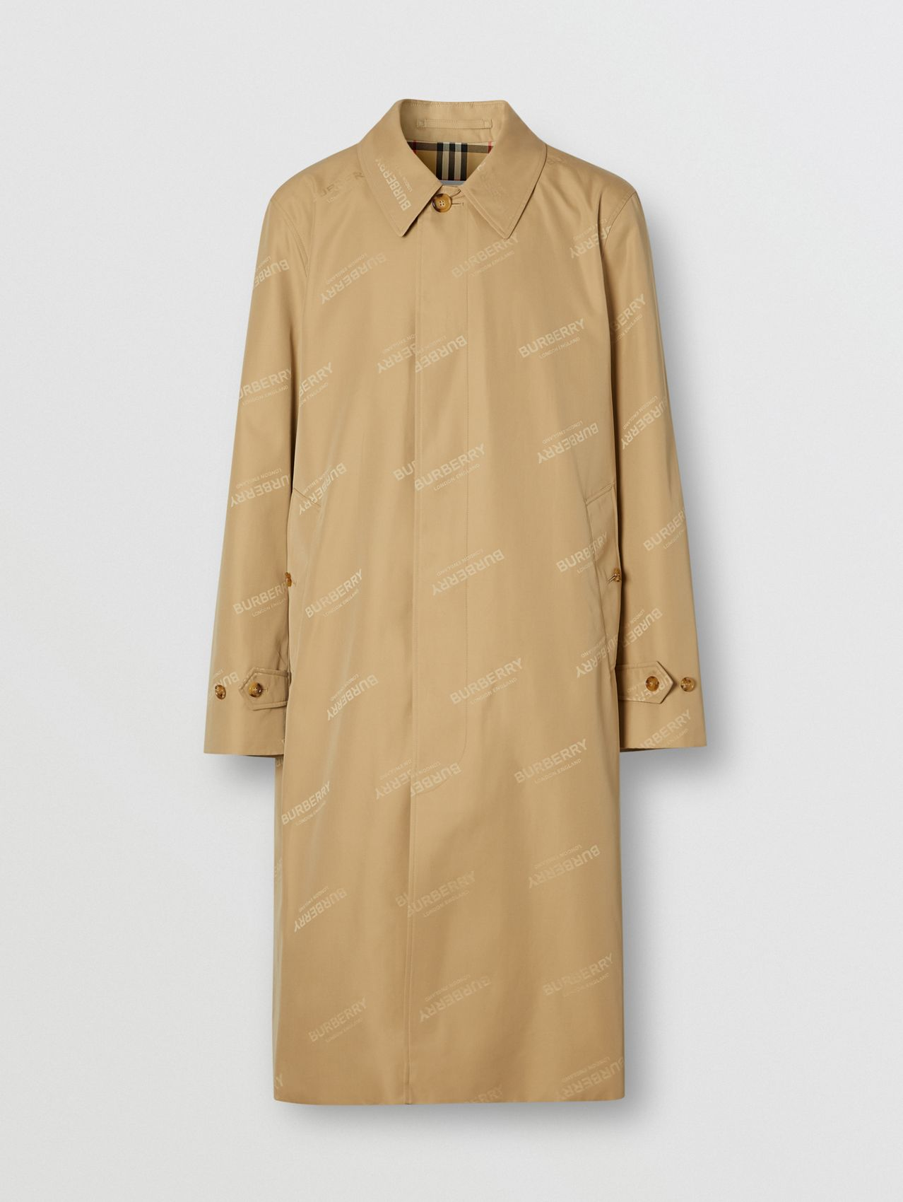 Logo Jacquard Cotton Twill Car Coat in Soft Fawn