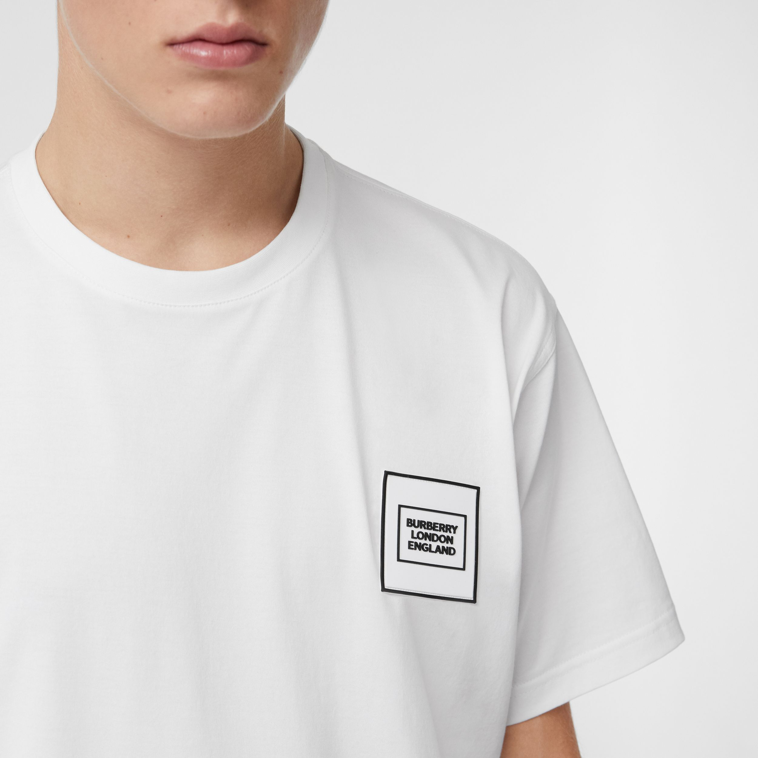 Logo Appliqué Cotton T-shirt in White - Men | Burberry - 2