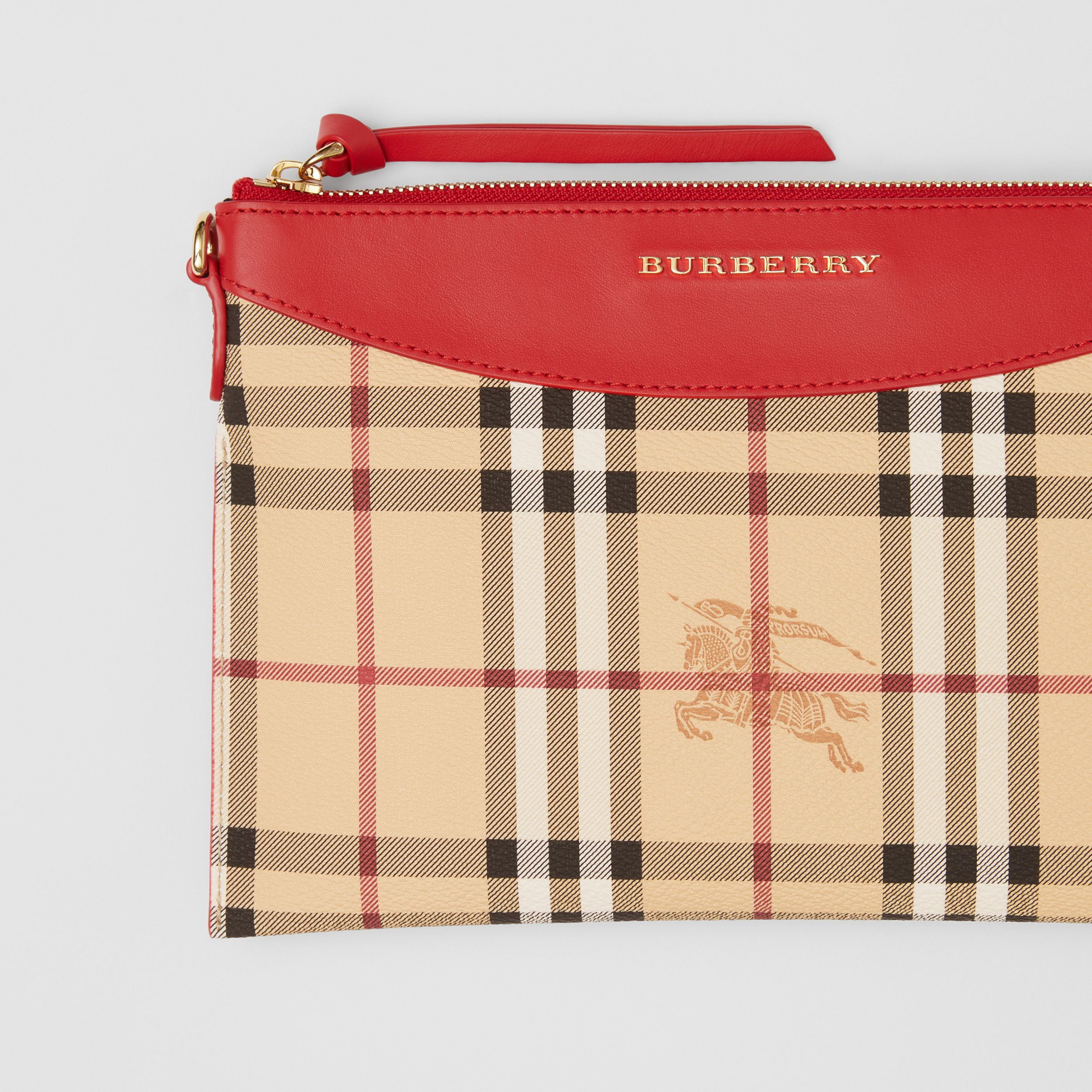 Haymarket Check E-canvas and Leather Clutch in Bright Red - Women | Burberry - 2