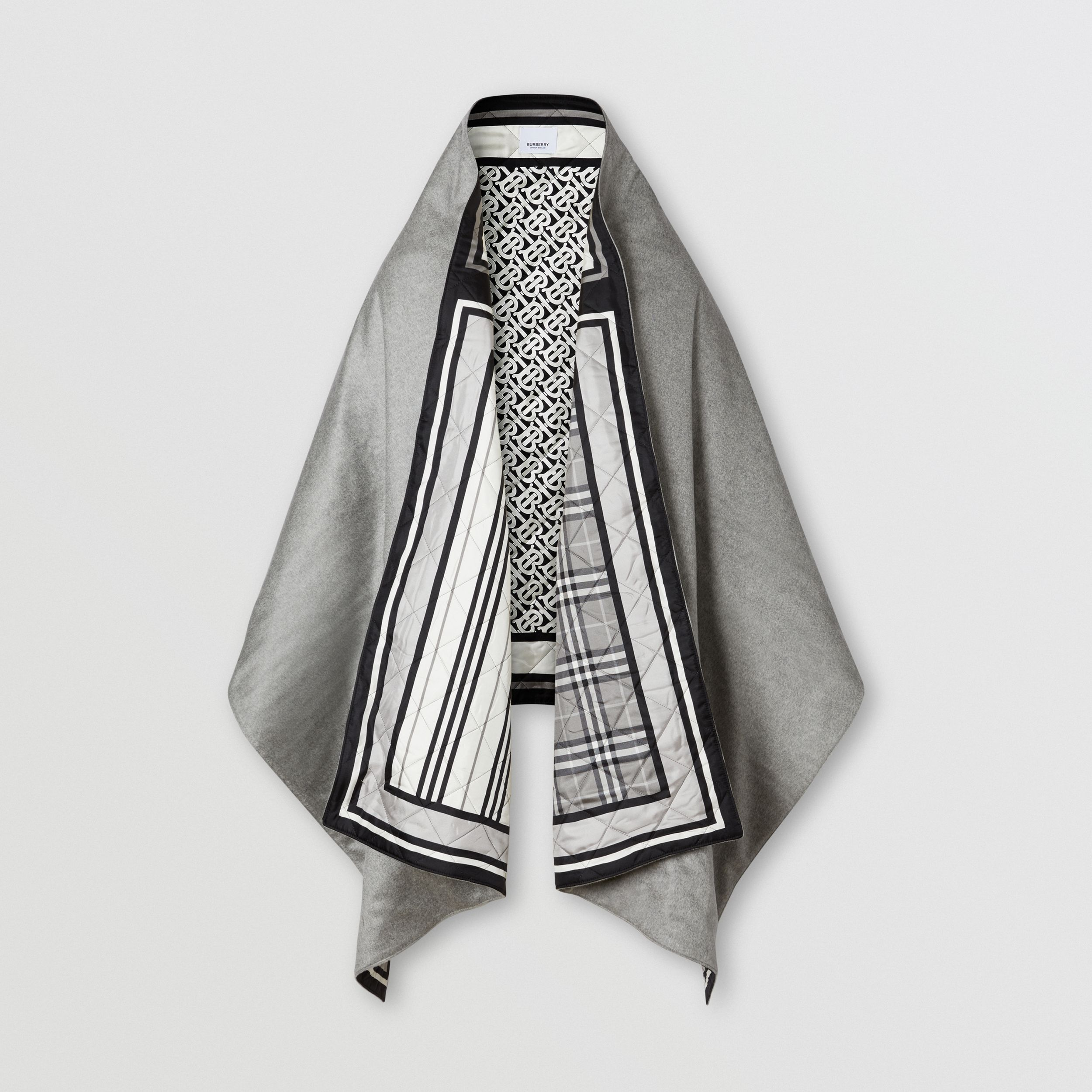 Montage Print Silk-lined Wool Cashmere Cape in Monochrome - Women | Burberry Singapore - 3