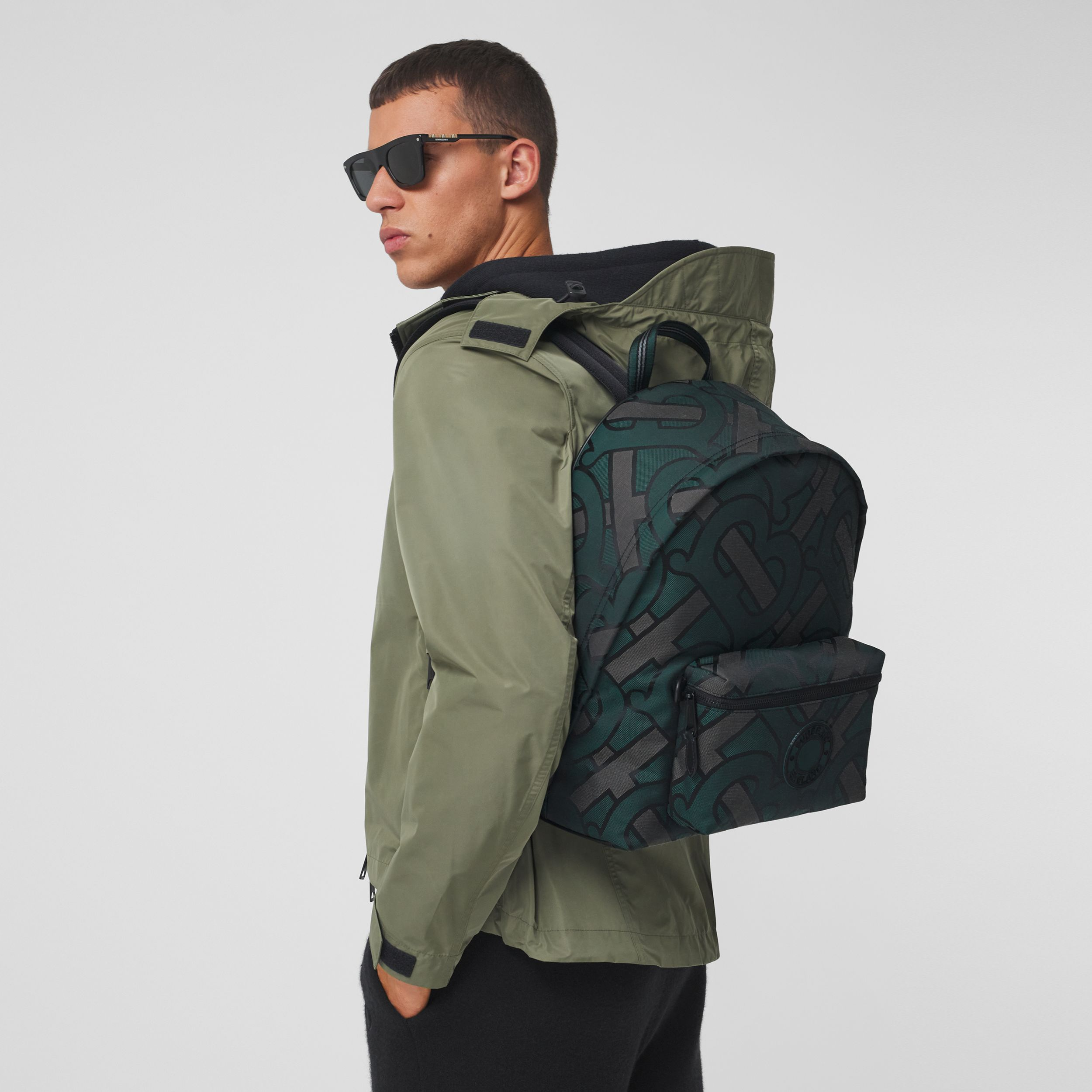 Monogram Recycled Polyester Jacquard Backpack in Forest Green - Men | Burberry - 3