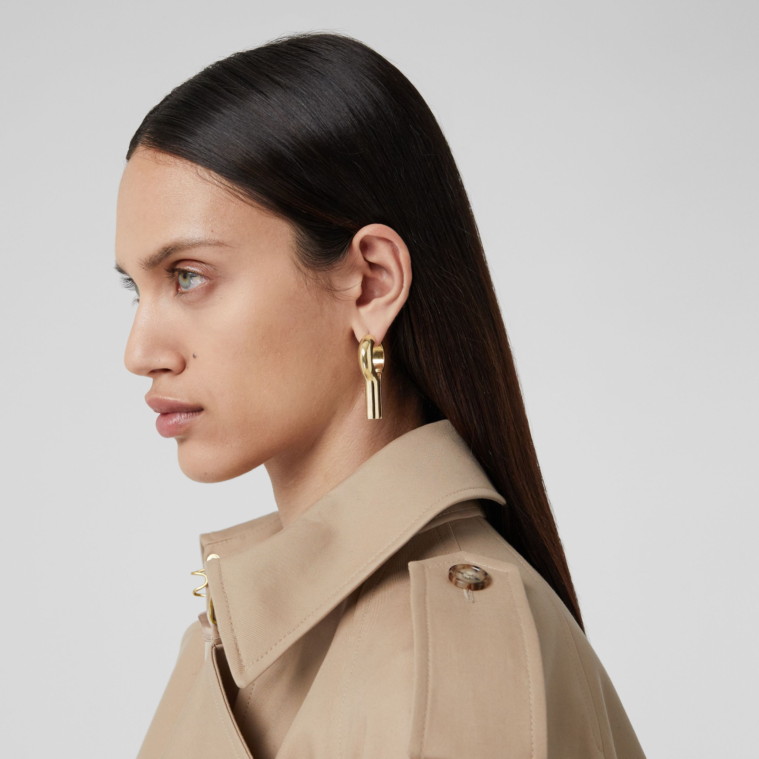 Gold-plated Keyhole Earrings in Light - Women | Burberry - 3
