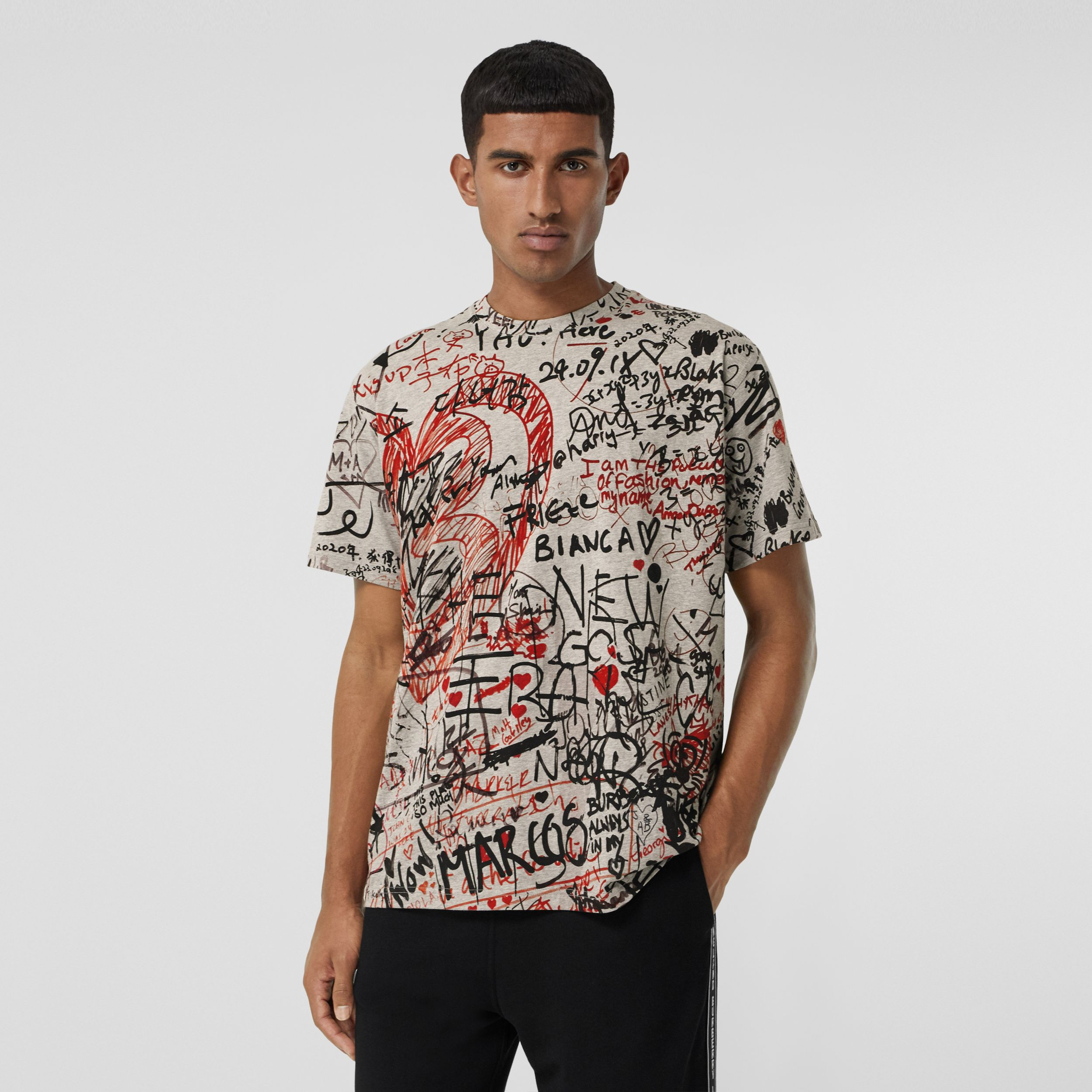 Graffiti Print Oversized T-shirt in Pale Grey Melange - Men | Burberry - 1