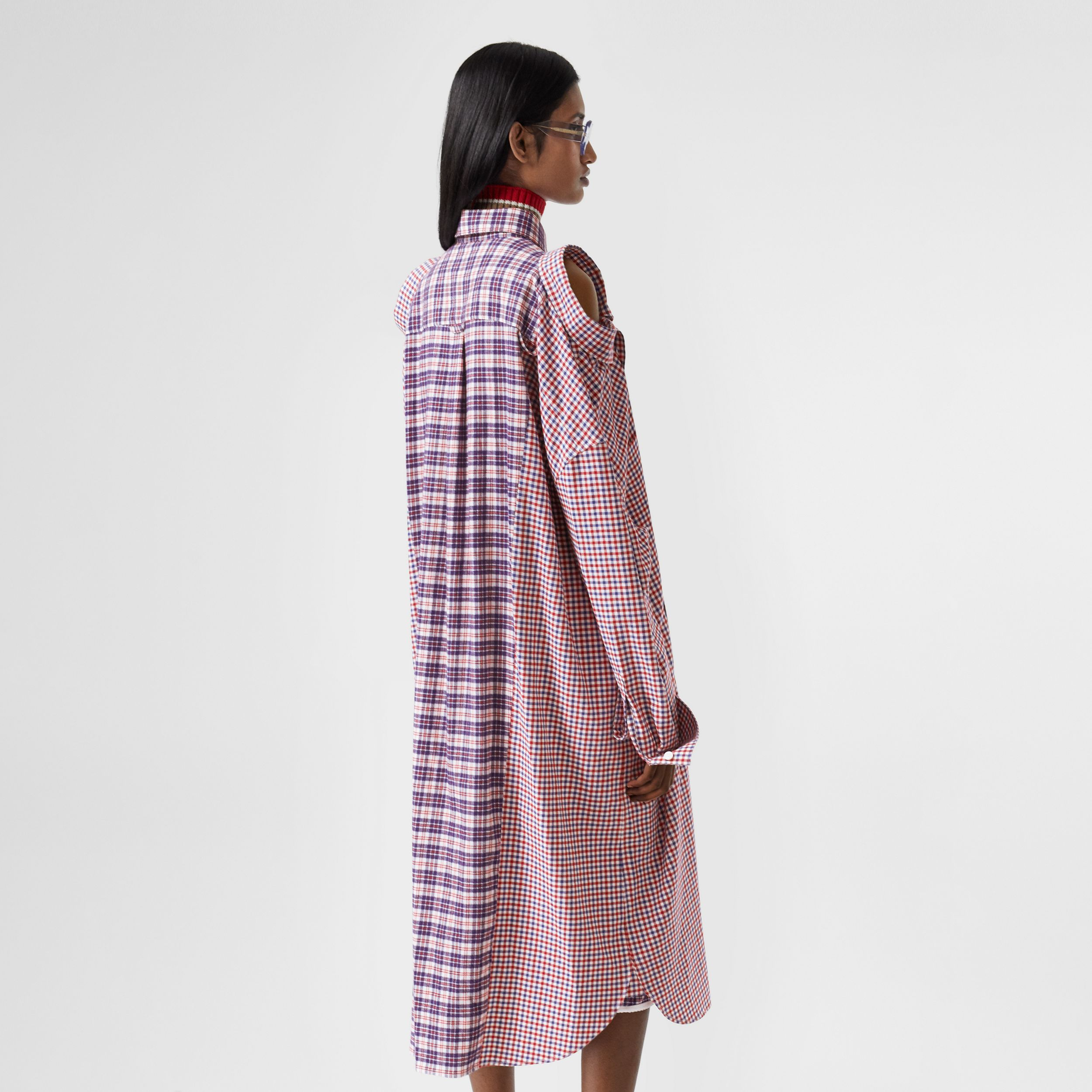 Contrast Check Cotton Reconstructed Shirt Dress in Bright Red - Women | Burberry - 3