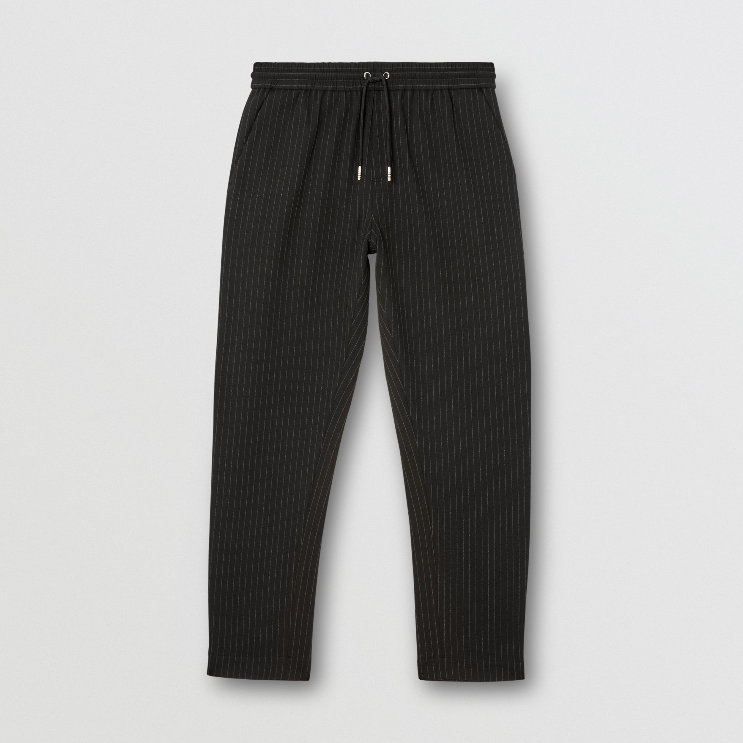 Pinstriped Stretch Jersey Jogging Pants in Black - Men | Burberry - 4