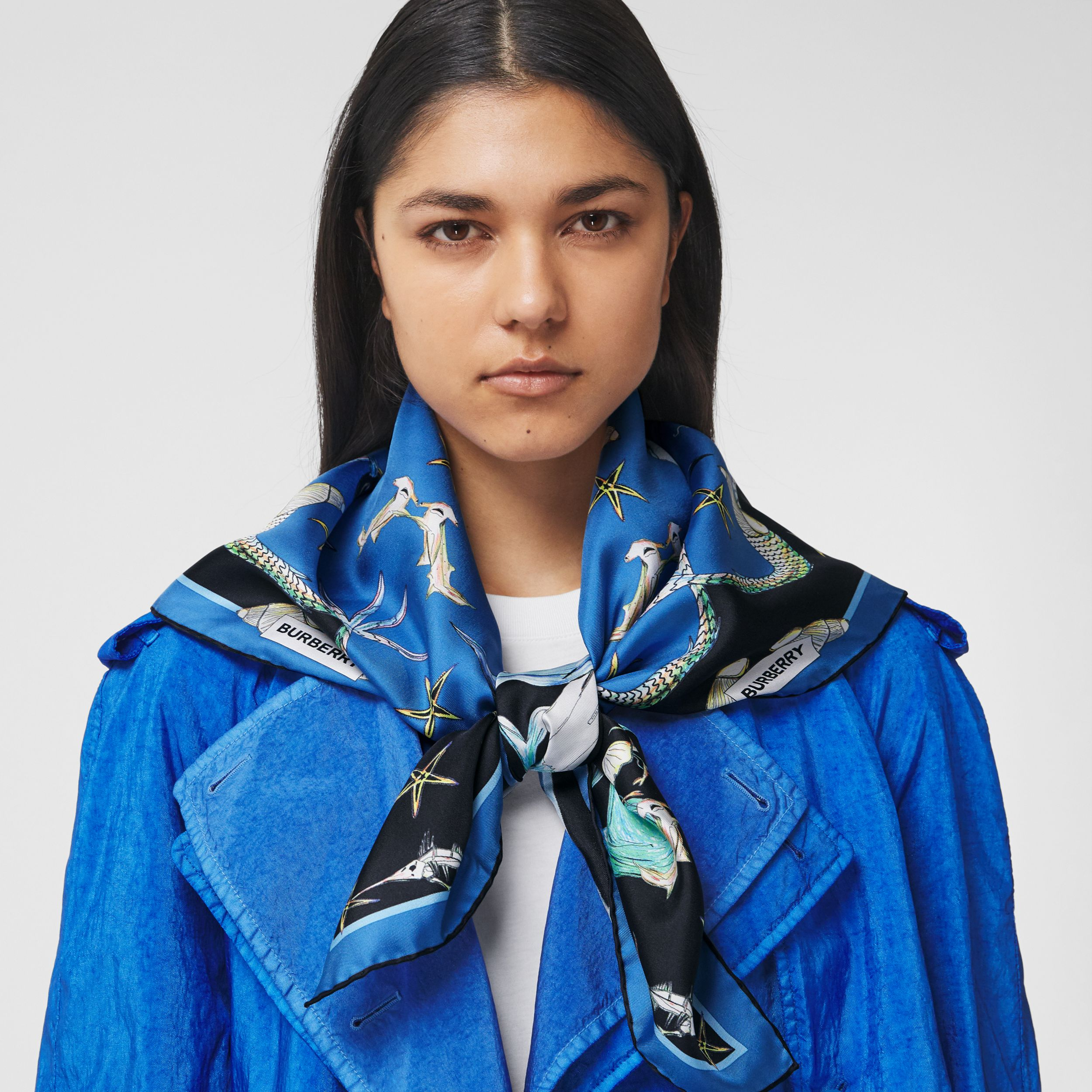 Marine Sketch Print Silk Square Scarf in Azure Blue | Burberry - 3