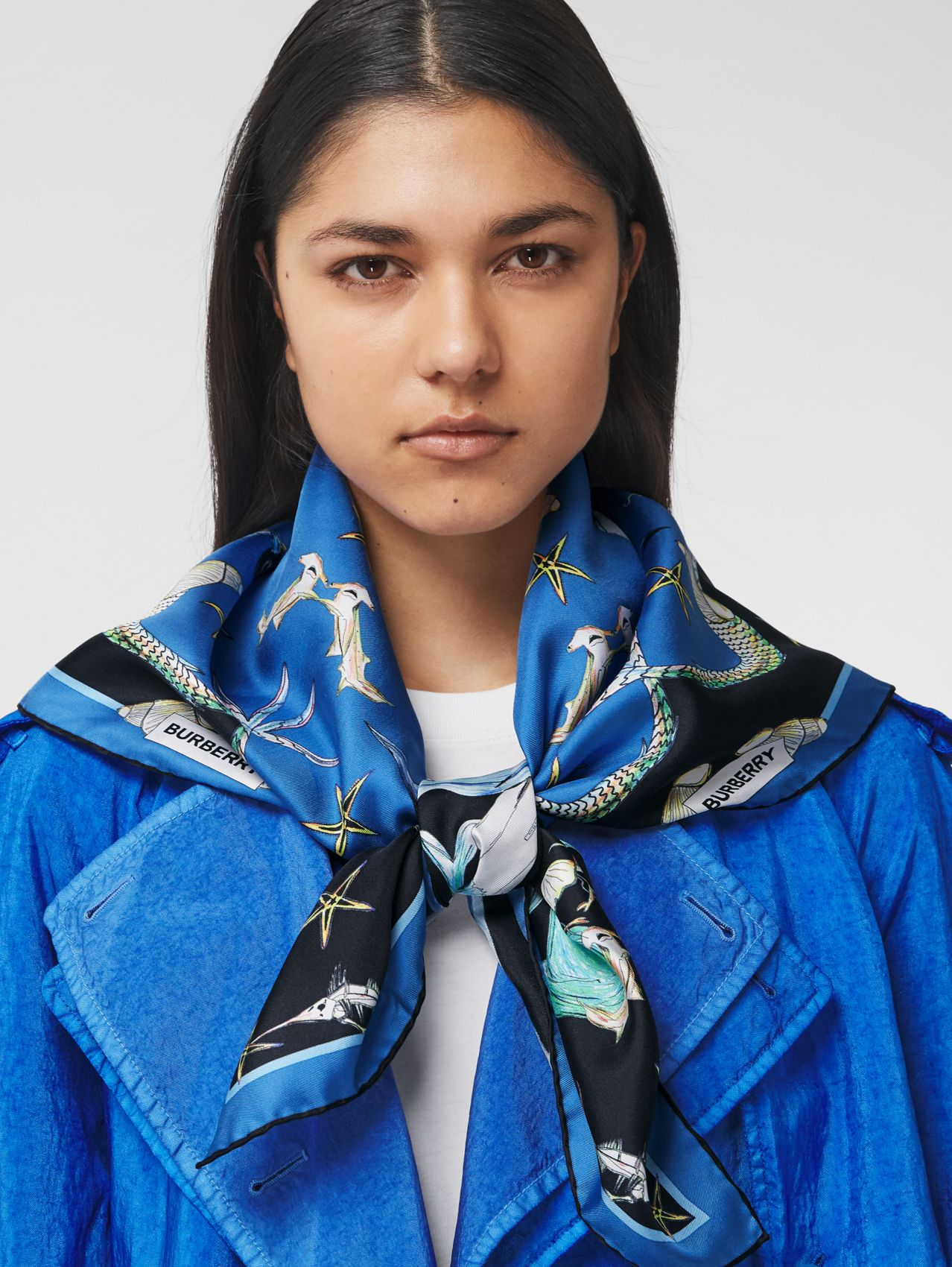 Marine Sketch Print Silk Square Scarf in Azure Blue