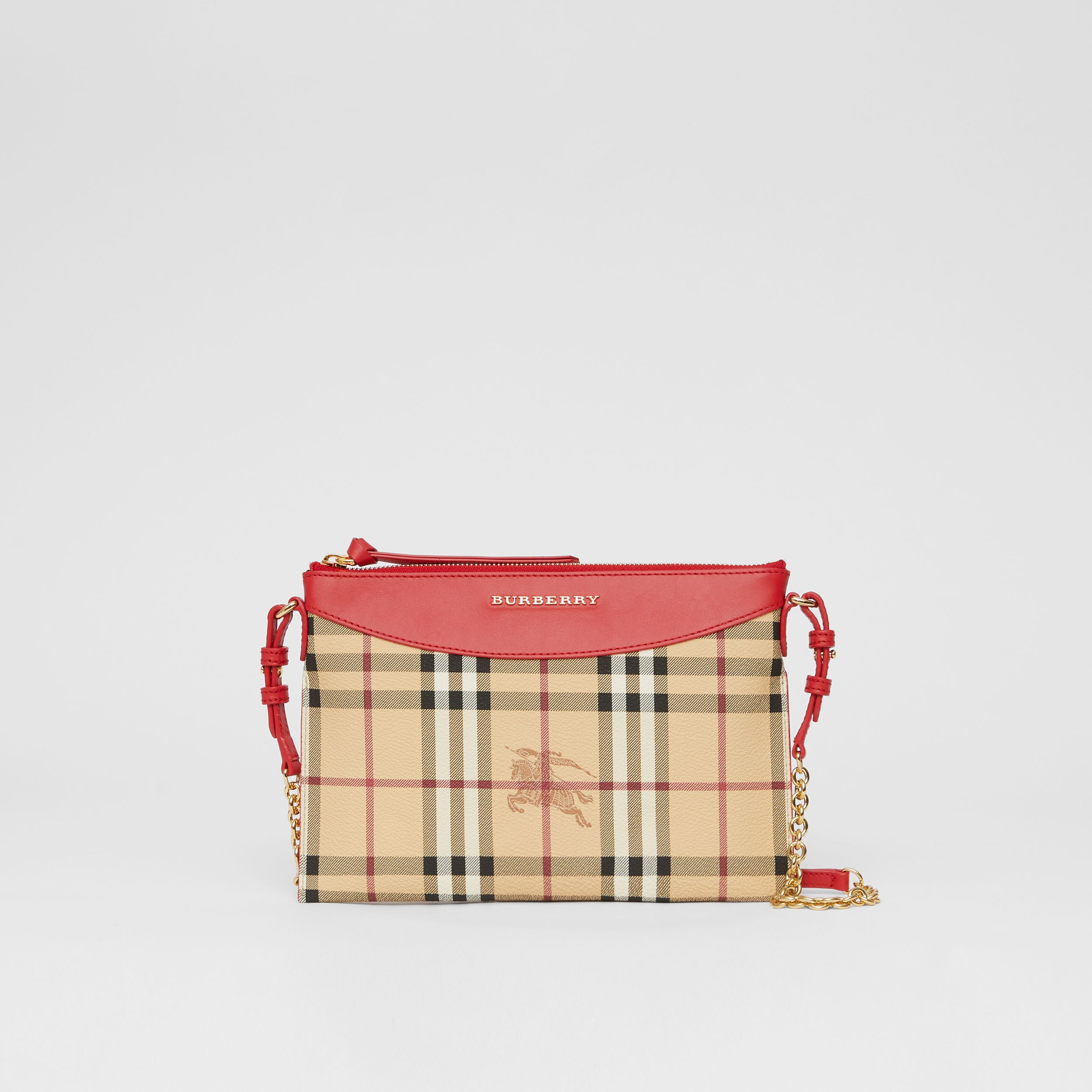 Haymarket Check E-canvas and Leather Clutch in Bright Red - Women | Burberry - 1