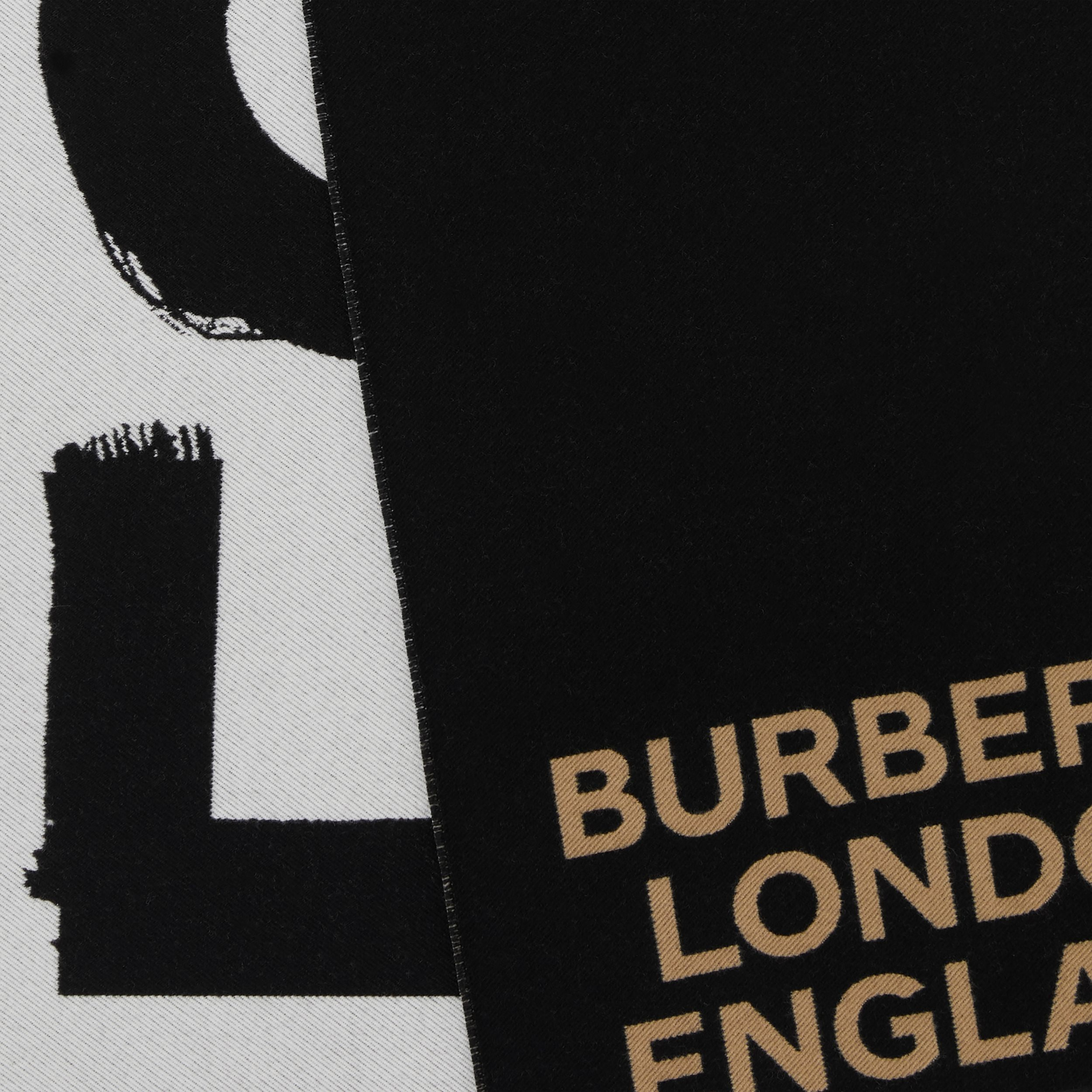 Love and Logo Wool Silk Jacquard Scarf in Black | Burberry - 2