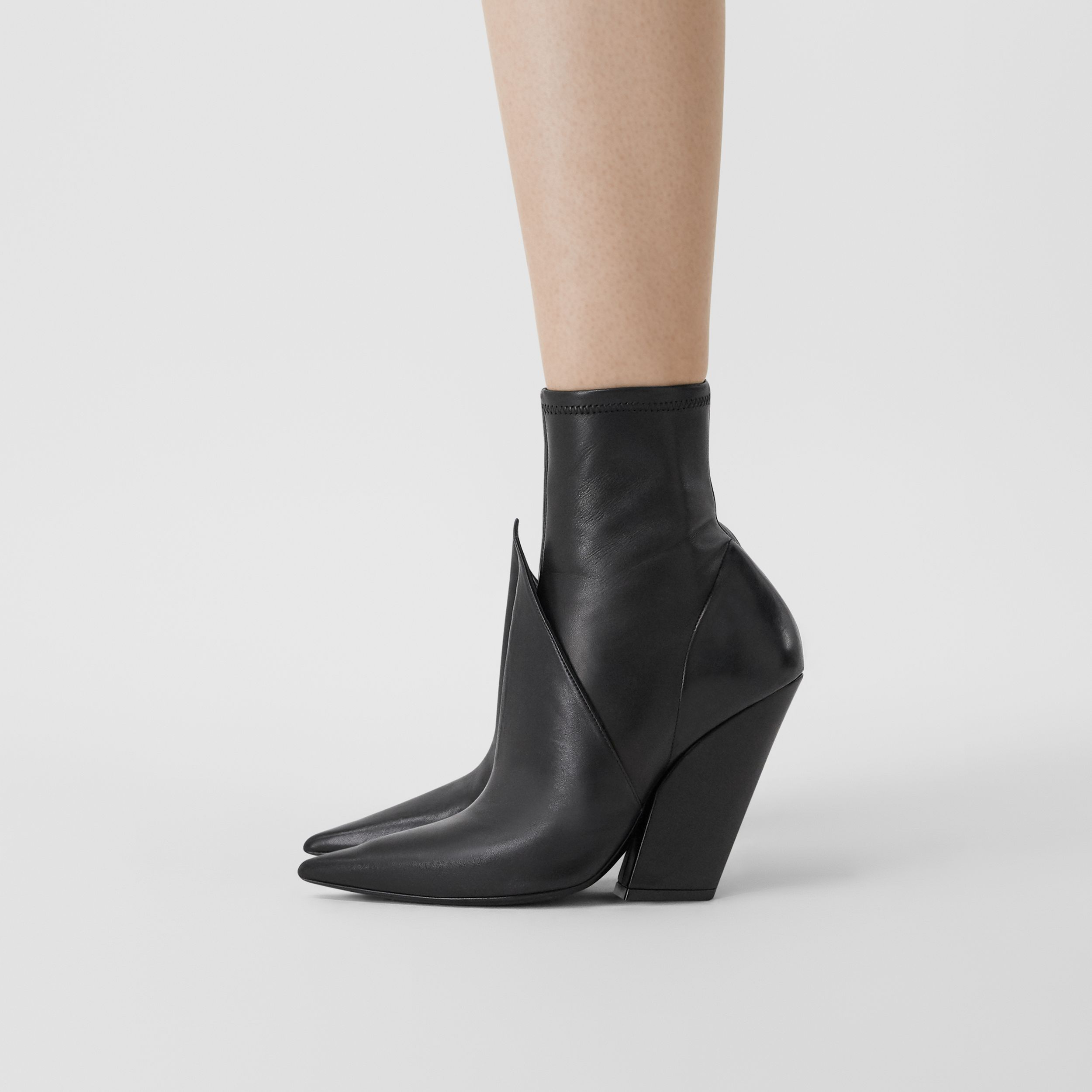 Panelled Lambskin Ankle Boots in Black - Women | Burberry - 3