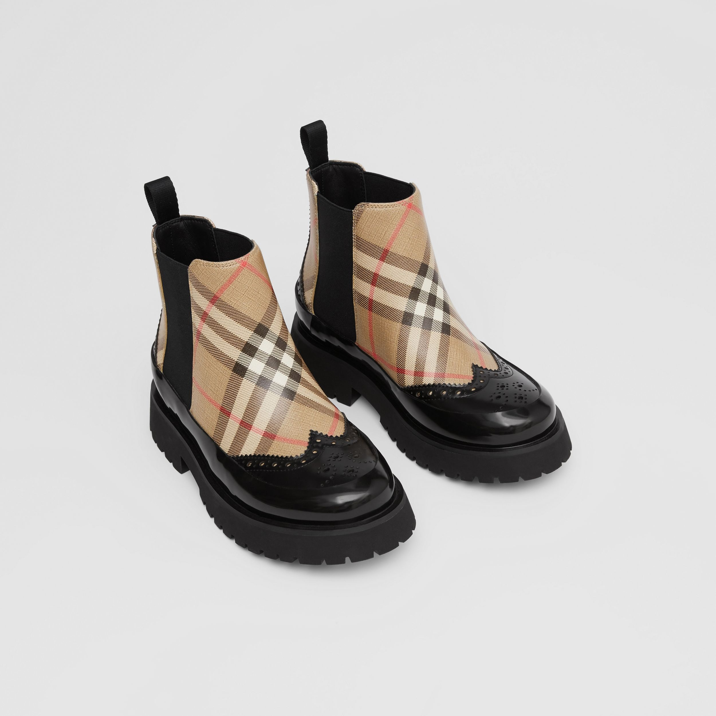 Vintage Check Leather Chelsea Boots in Archive Beige - Children | Burberry - 1
