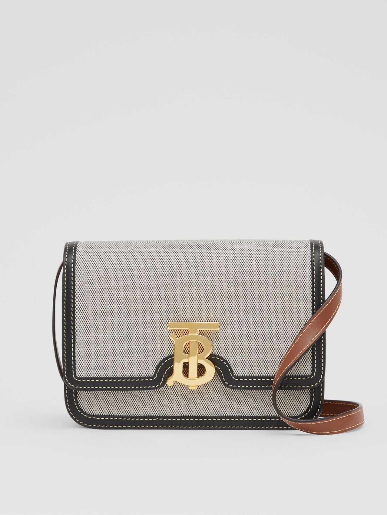 Small Tri-tone Canvas and Leather TB Bag in Black/tan