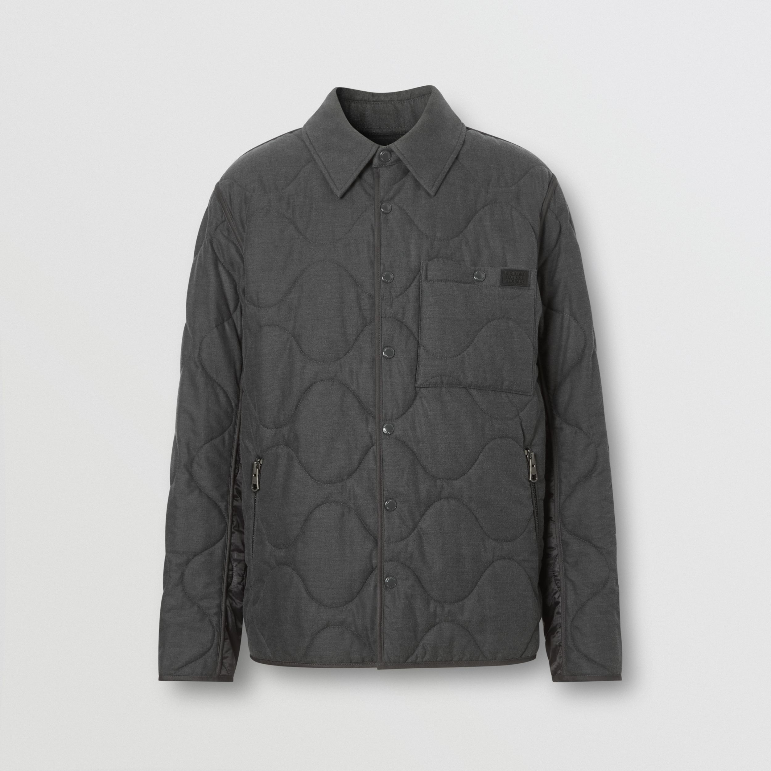 Quilted Cotton Cashmere Flannel and Nylon Jacket in Mid Grey - Men | Burberry - 4