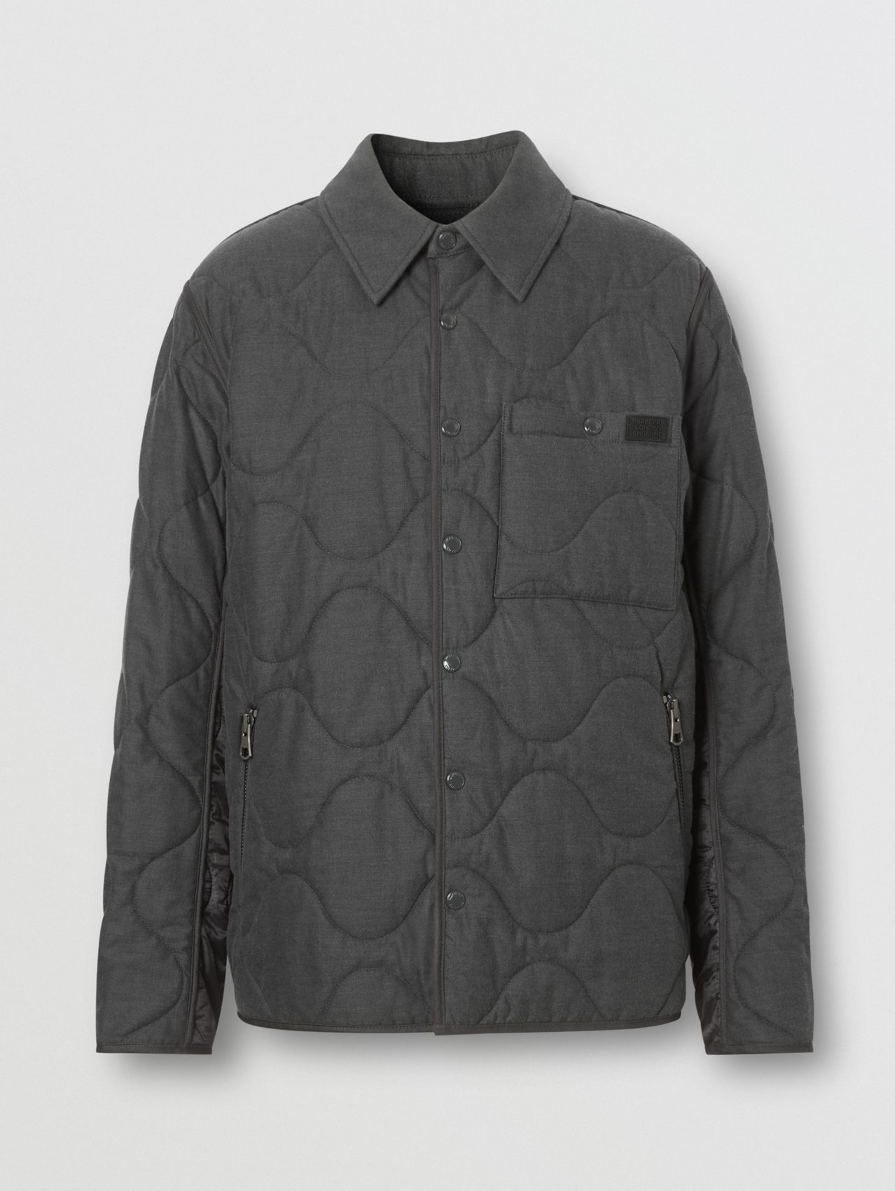 Quilted Cotton Cashmere Flannel and Nylon Jacket in Mid Grey