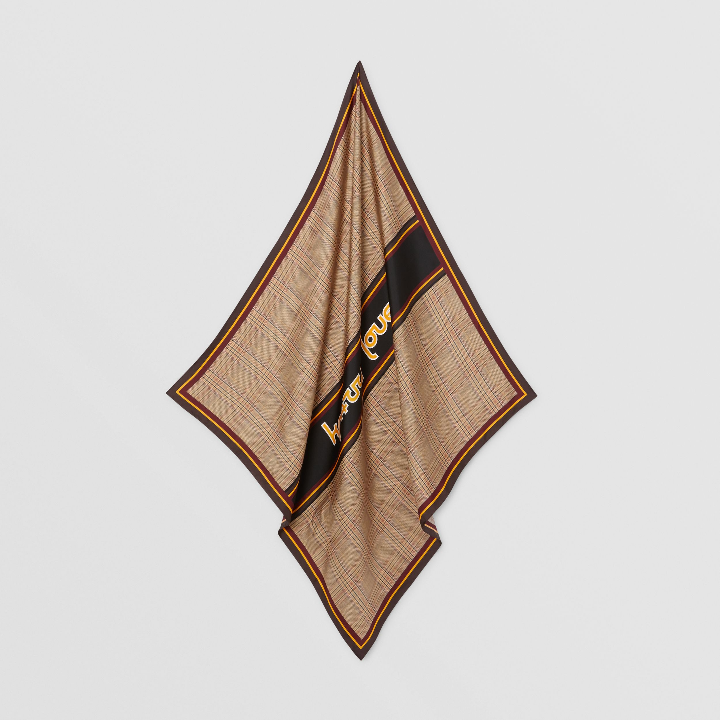 Check and Slogan Print Silk Square Scarf in Dark Honey | Burberry - 4