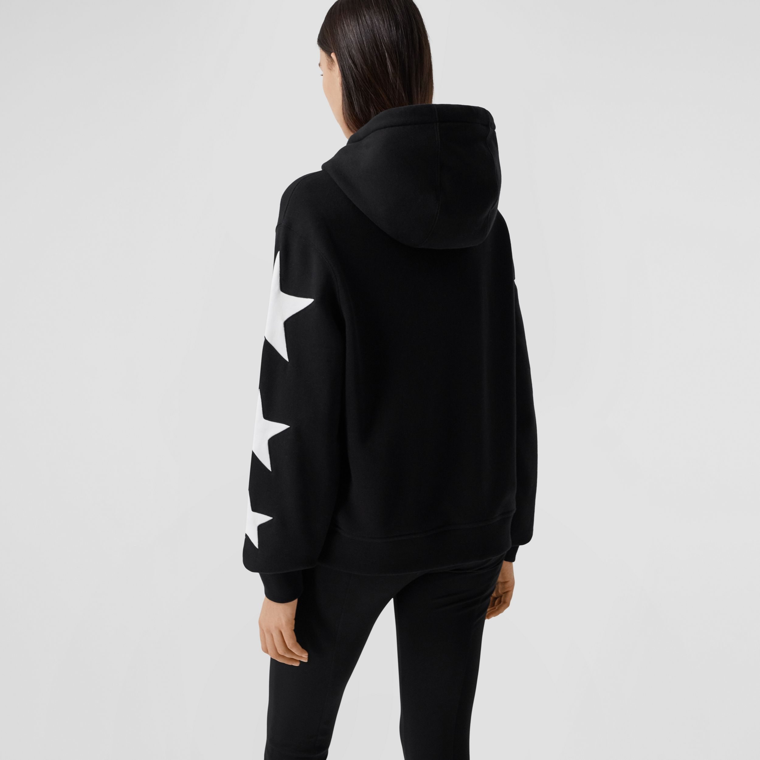 Star Motif Cotton Oversized Hoodie in Black - Women | Burberry - 3