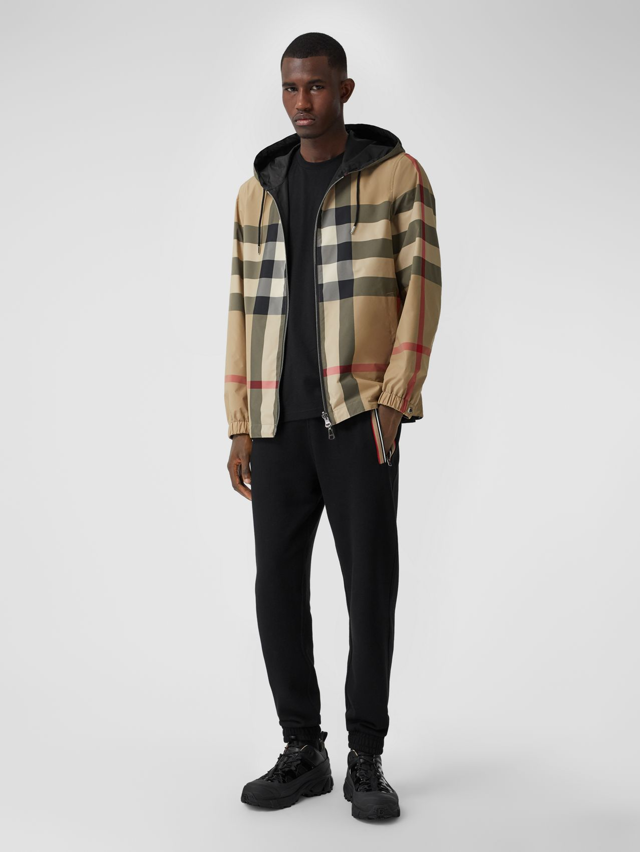 Reversible Check and ECONYL® Jacket in Archive Beige