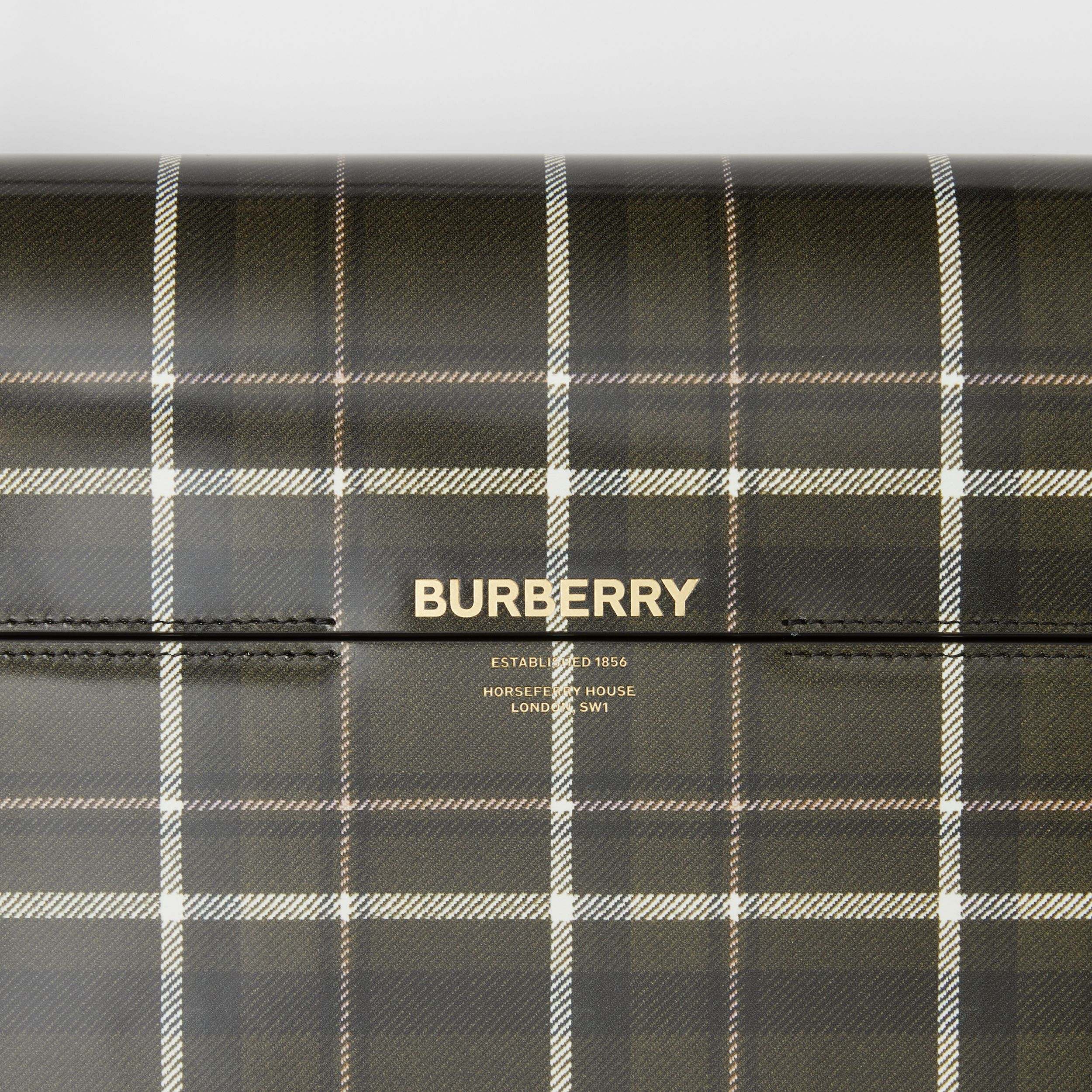 Large Tartan Print Leather Grace Bag in Green/brown - Women | Burberry Canada - 2