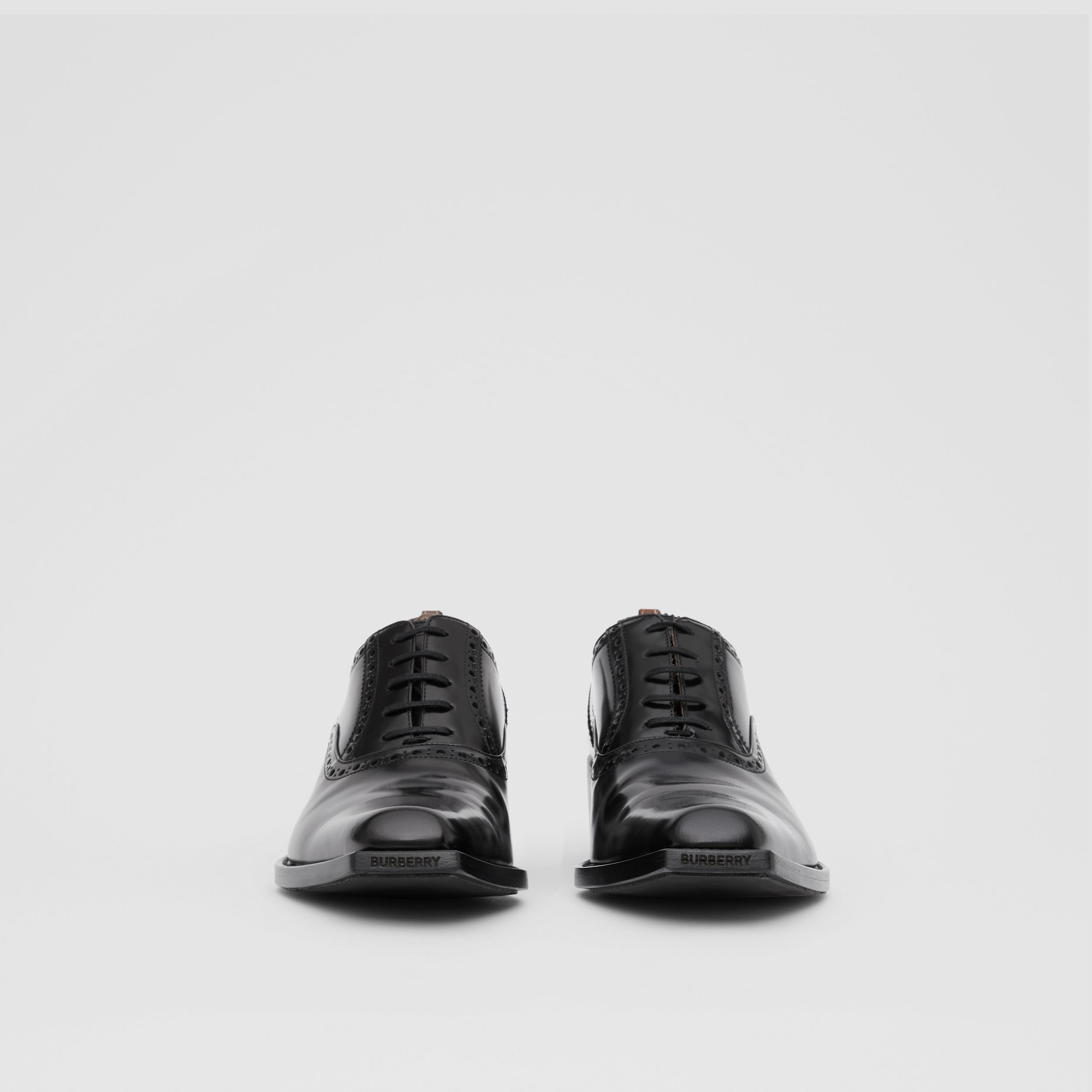D-ring Detail Leather Heeled Oxford Brogues in Black | Burberry - 4