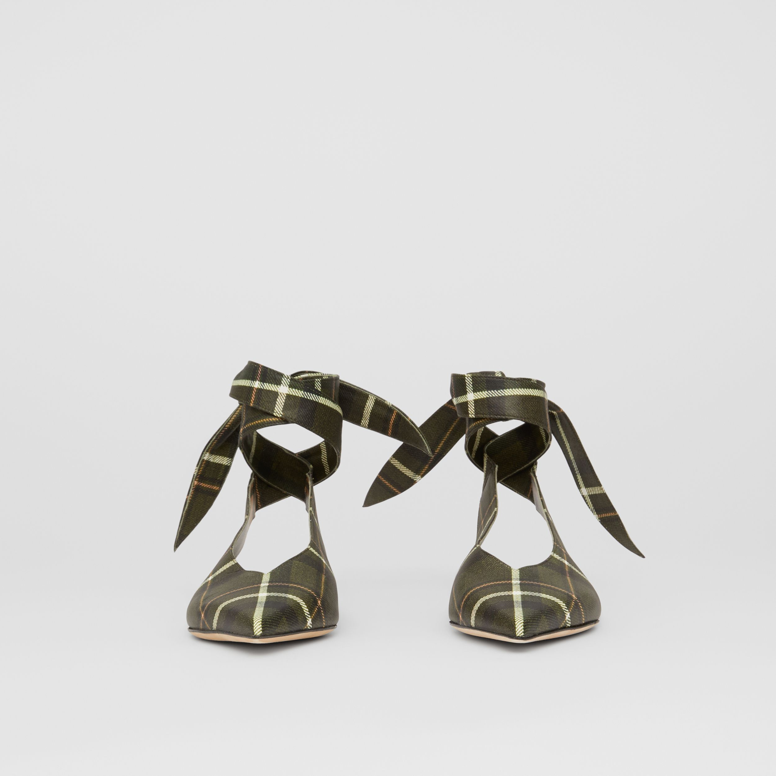 Tie Detail Tartan Print Leather Point-toe Mules in Dark Khaki Green - Women | Burberry - 4
