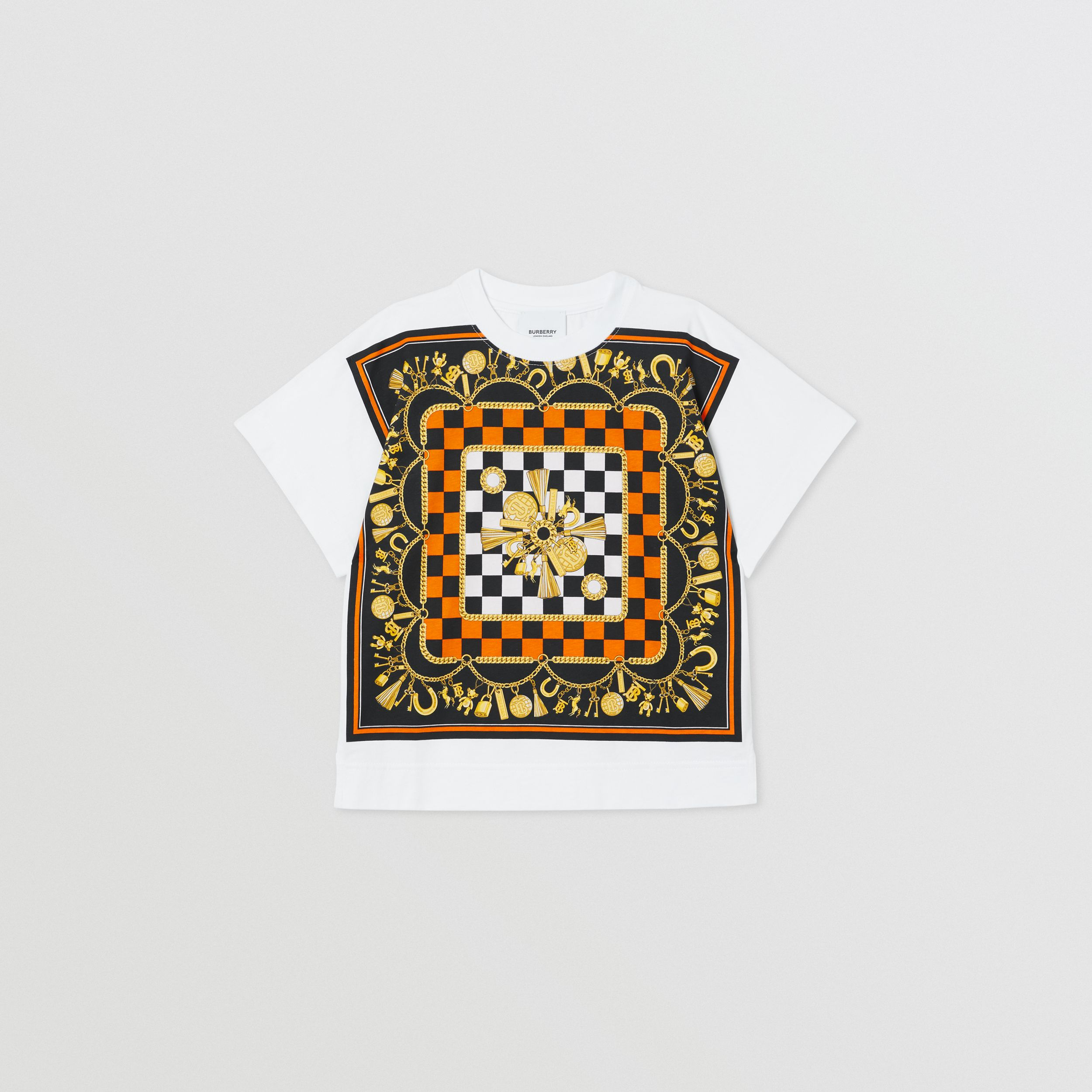 Scarf Print Cotton T-shirt in White | Burberry - 1
