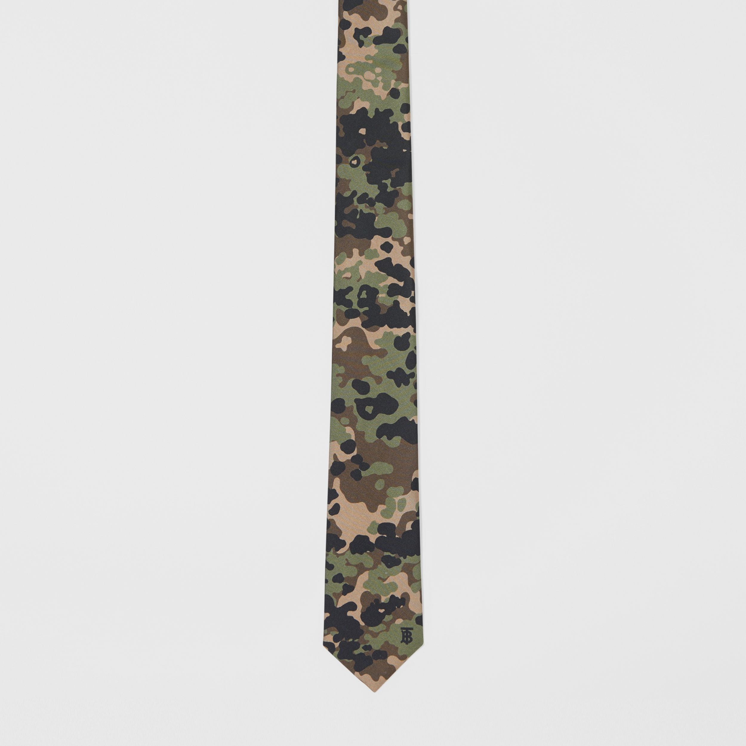 Classic Cut Camouflage Print Silk Tie in Khaki Green - Men | Burberry - 4