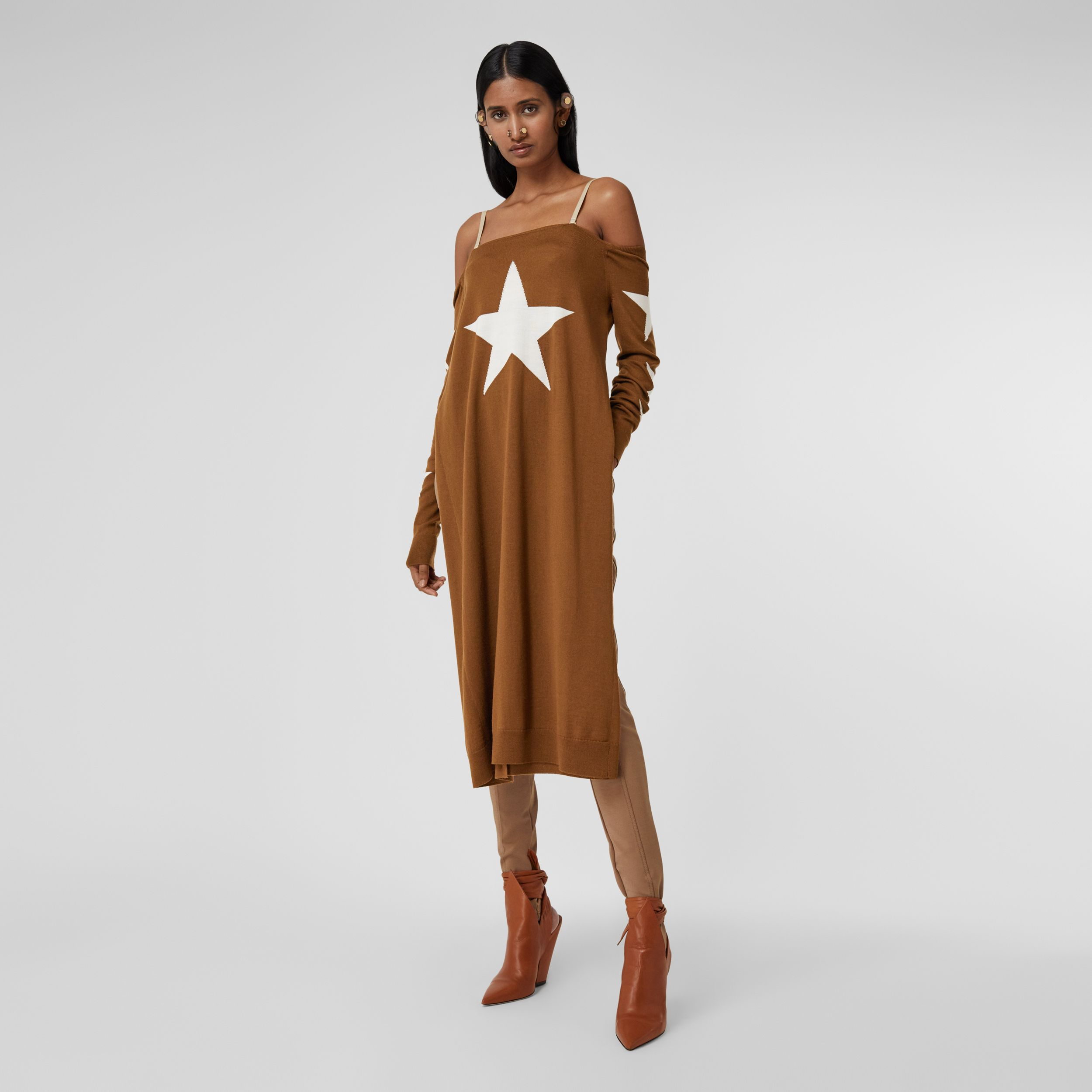 Star Motif Wool Reconstructed Sweater Dress in Mahogany - Women | Burberry - 1