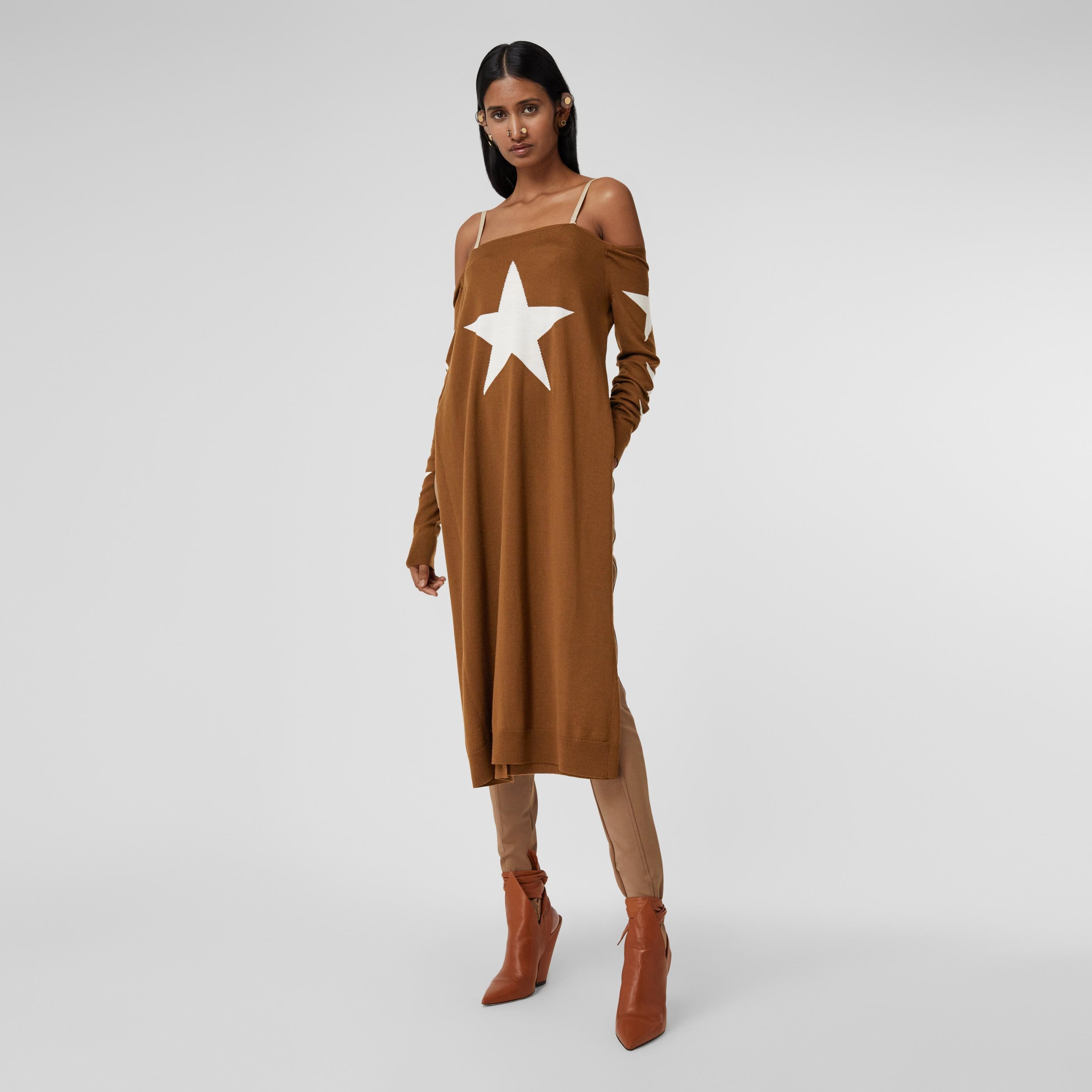 Abito in lana ricostruito con motivo stella (Mogano) - Donna | Burberry - 1