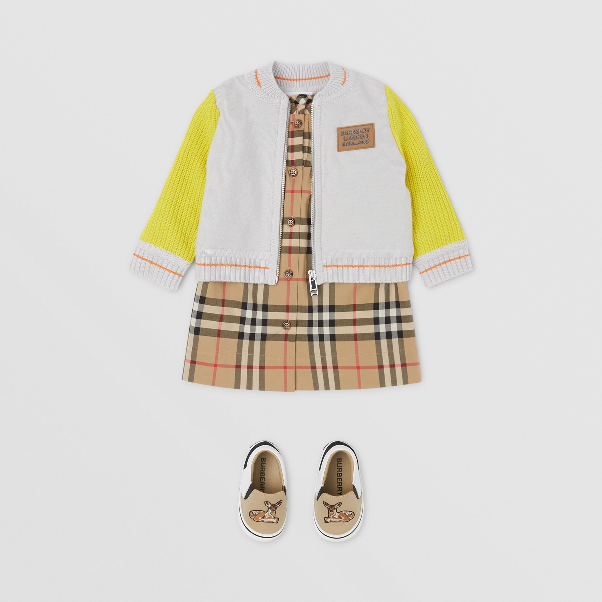 Deer Motif Wool Blend Jacket in Light Grey - Children | Burberry - 3