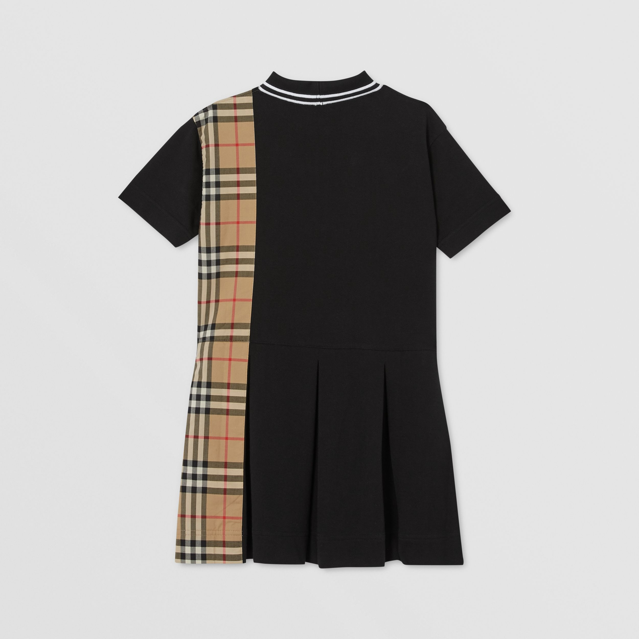 Vintage Check Panel Cotton Piqué Polo Shirt Dress in Black | Burberry - 4